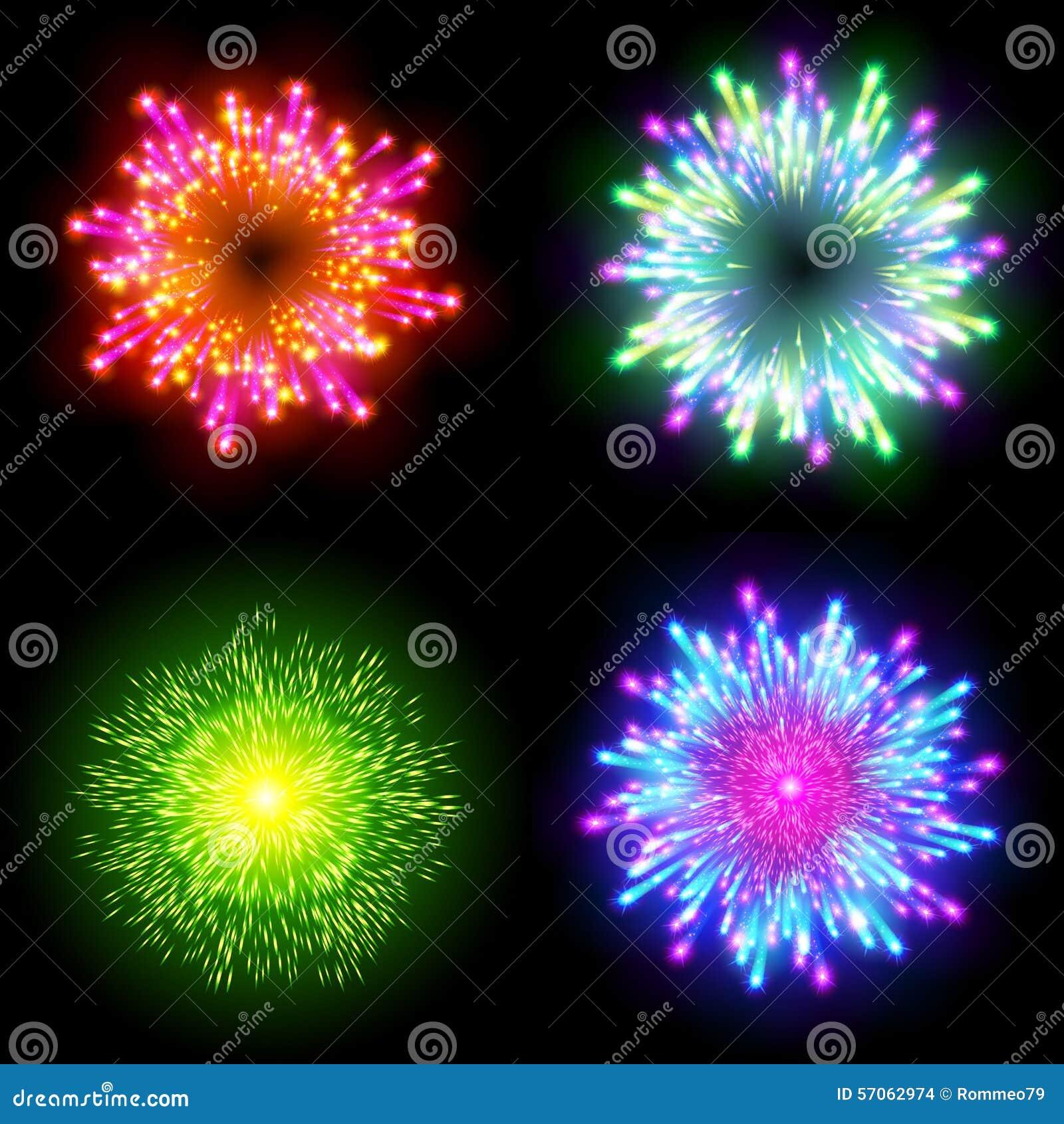 Het feestelijke gevormde vuurwerk die in diverse vormen fonkelende die pictogrammen barsten tegen zwarte abstracte vector worden