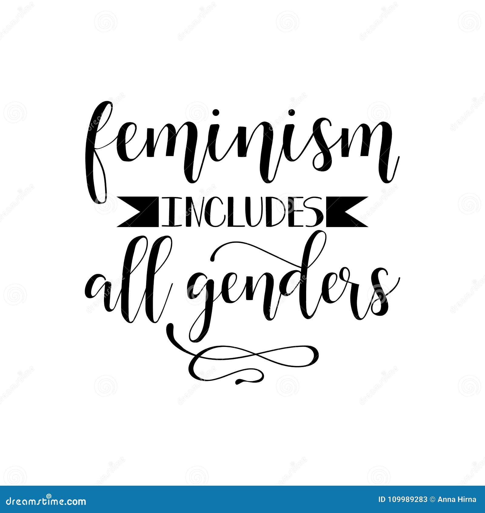 Het feminisme omvat alle geslachten Feminismecitaat, vrouwen motievenslogan lettering Vector ontwerp