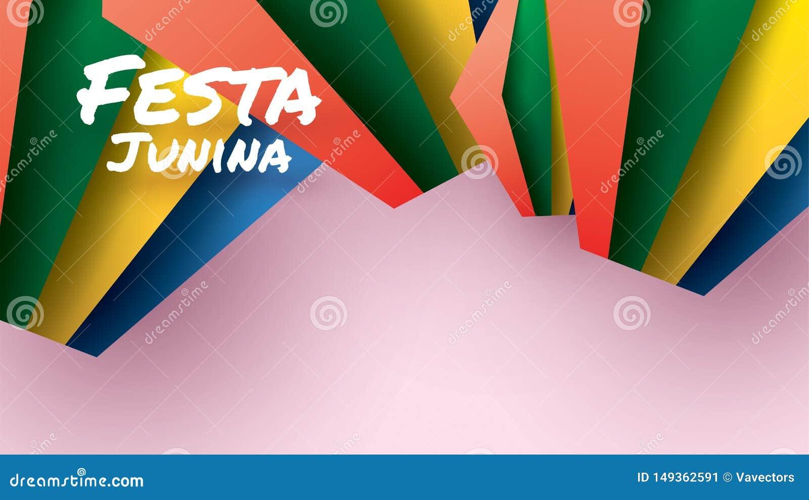 Het festivalontwerp van Festajunina op document kunst en vlakke stijl met Partijvlaggen en Document Lantaarn voor banner of affic