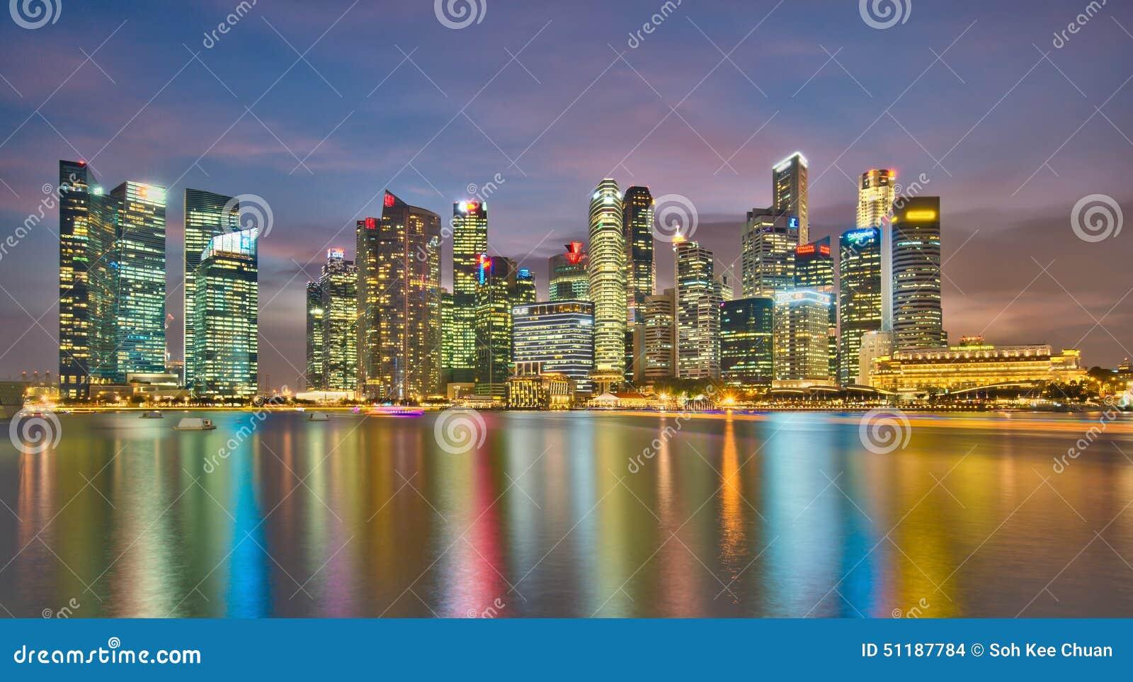 Het Financiële District van Singapore bij Schemer