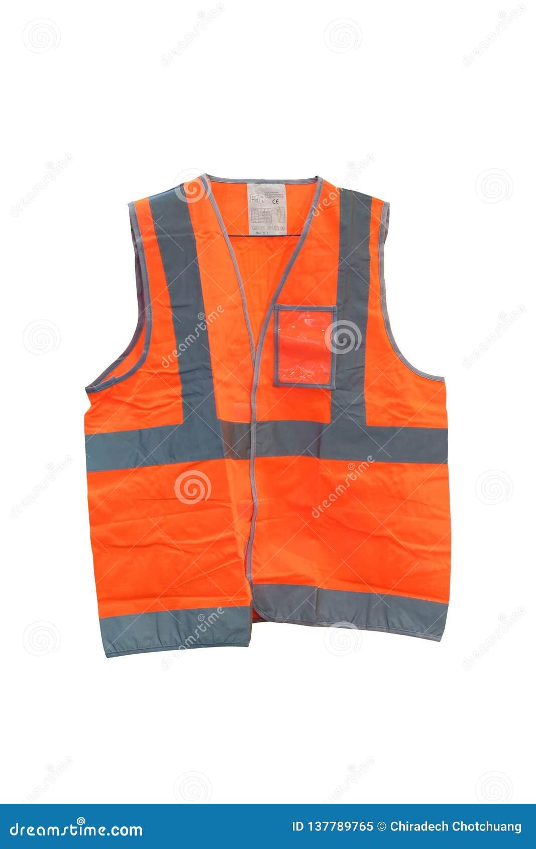 Het fluorescente oranje vest met weerspiegelende stroken, wordt Vest gemaakt van polyesterstof