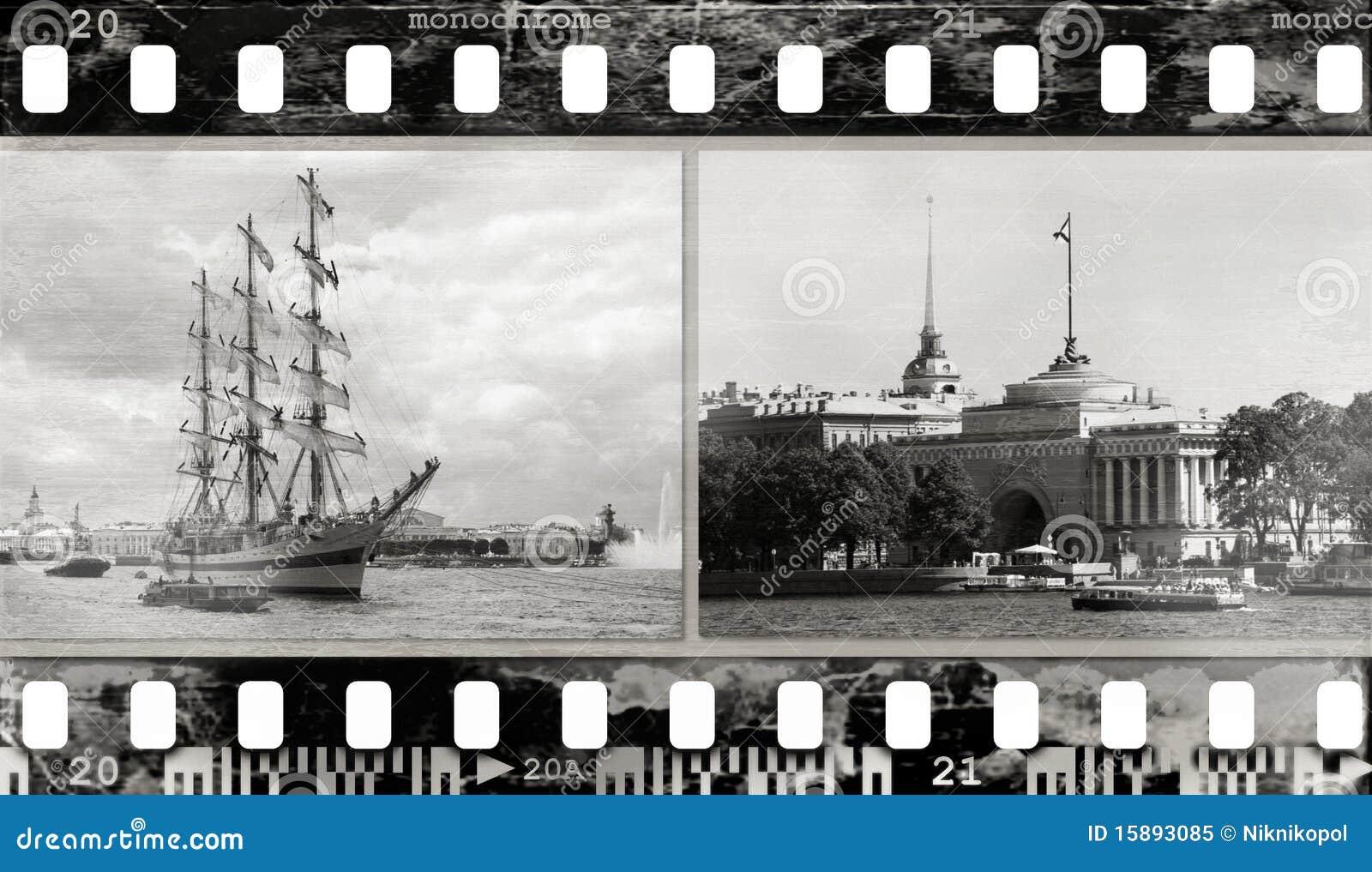 Het frame van de film (textuur, foto s, lawaai) achtergrond