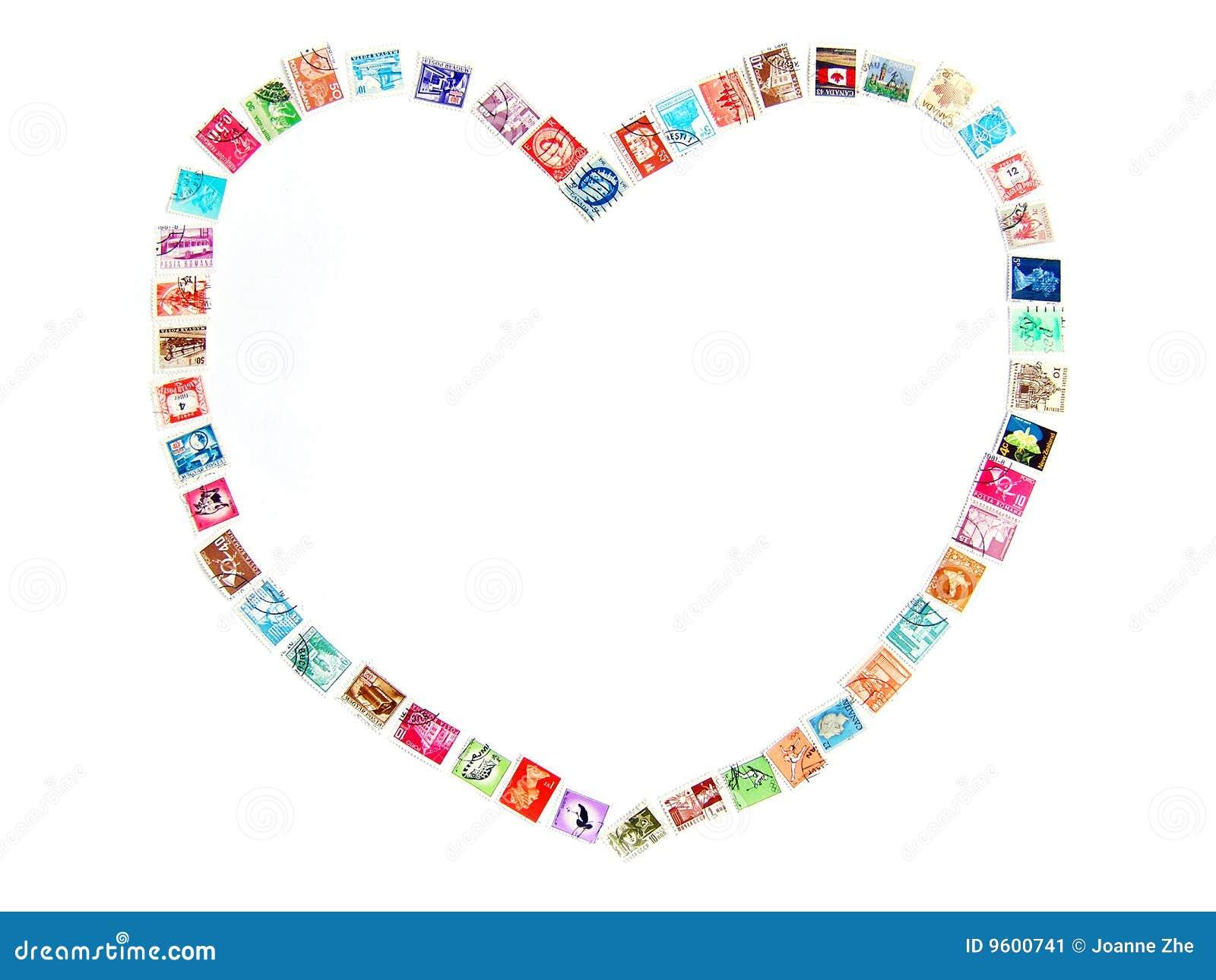 Het Frame Van De Liefde Met Postzegels Stock Afbeelding