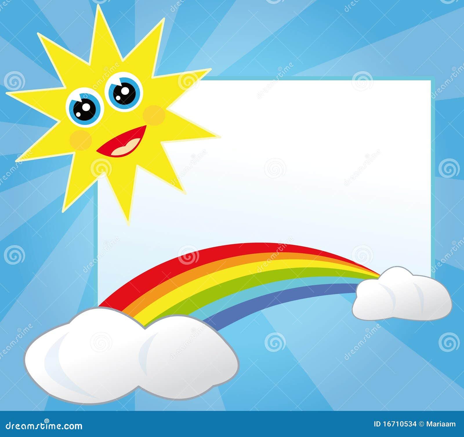 Het frame van de zon en van de regenboog