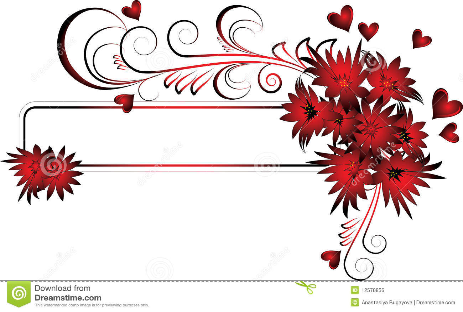 Het frame van valentijnskaarten