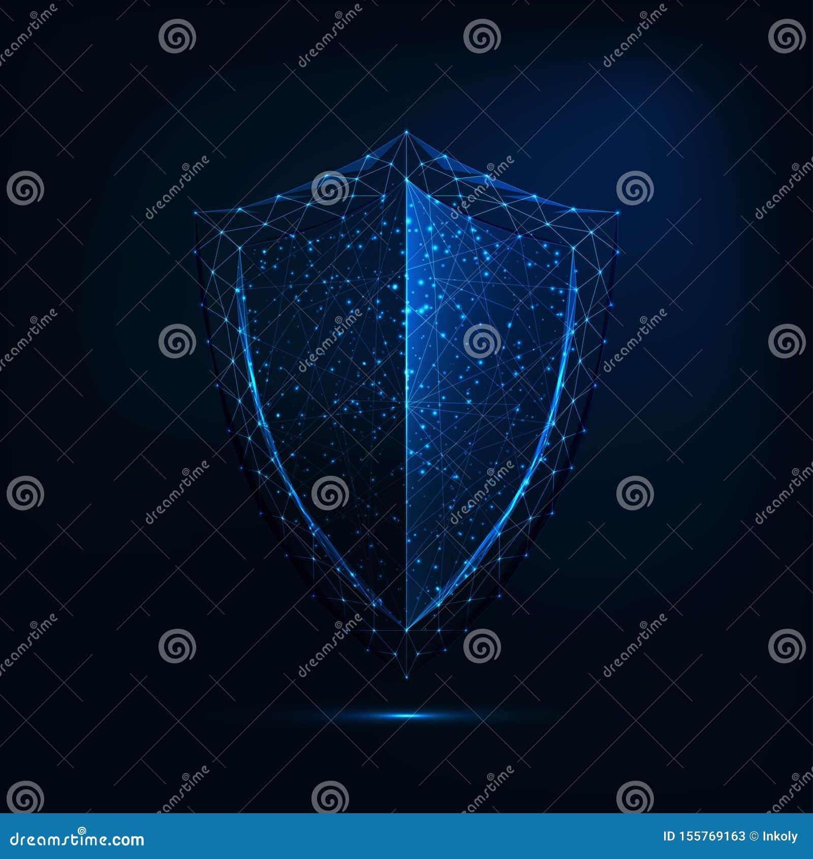 Het futuristische gloeiende lage veelhoekige die symbool van het wachtschild op donkerblauwe achtergrond wordt geïsoleerd