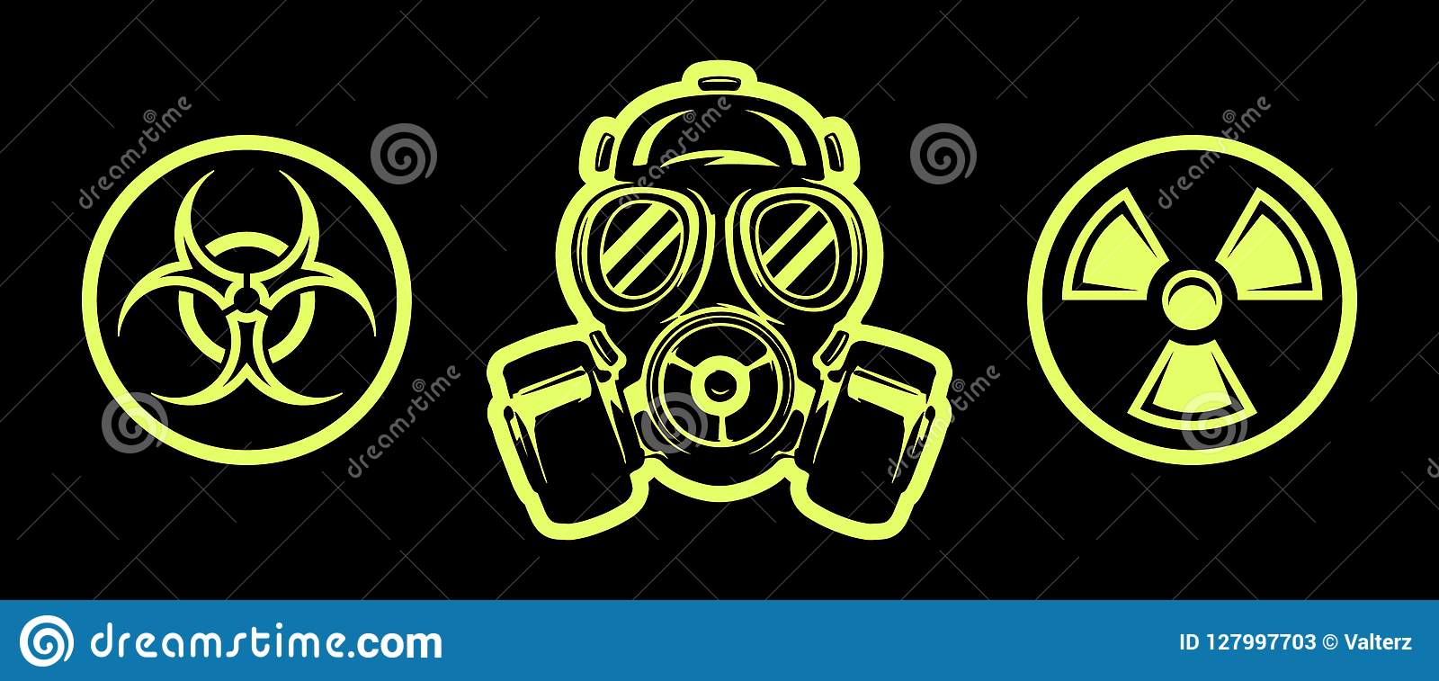 Het gasmasker en het gevaar zingen ademhalingsapparaat Een vector Het teken van Biohazard