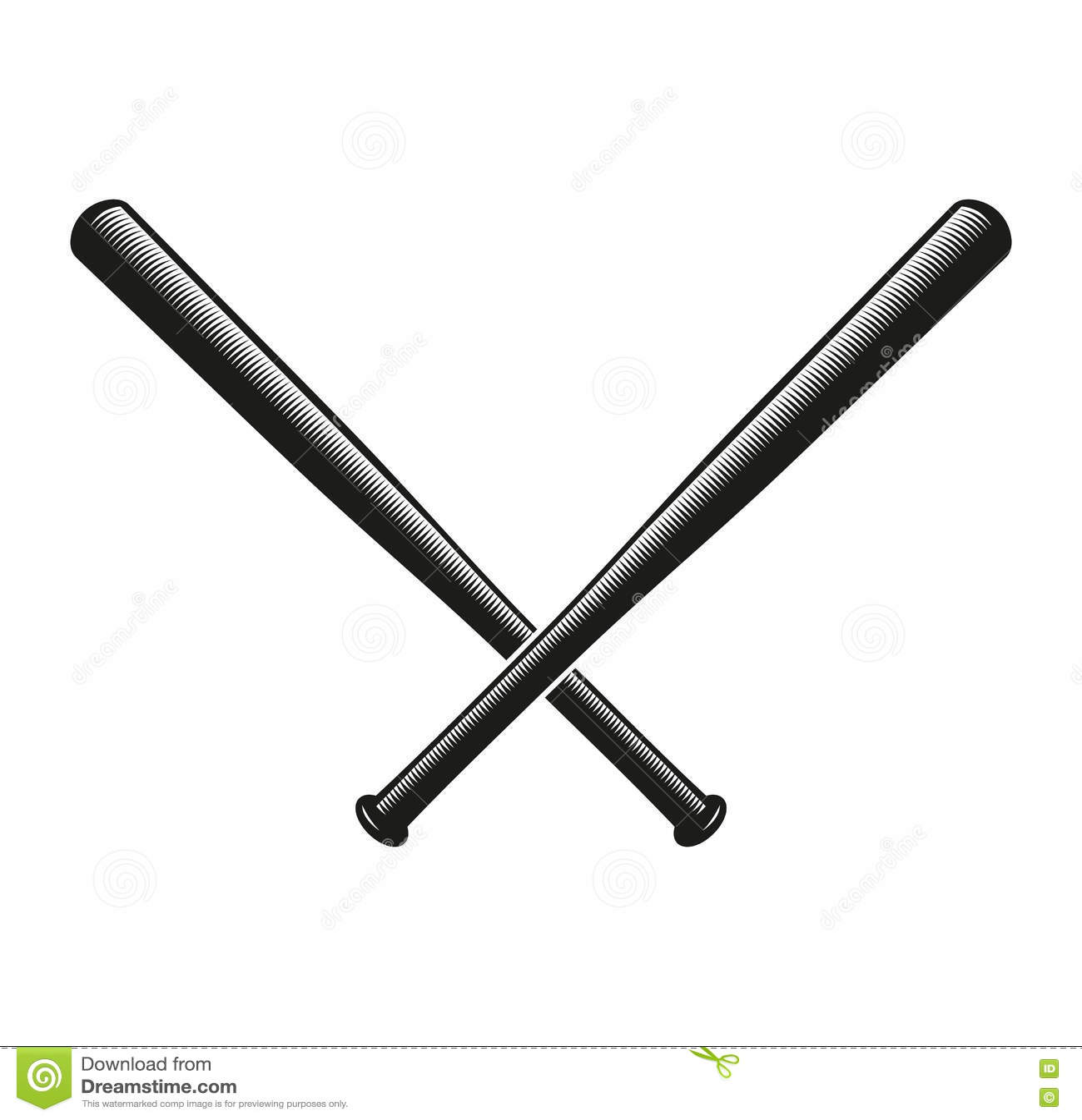 Het geïsoleerde abstracte zwarte kleur gekruiste embleem van honkbalknuppels Amerikaans sportmateriaal logotype Nationaal spelpic