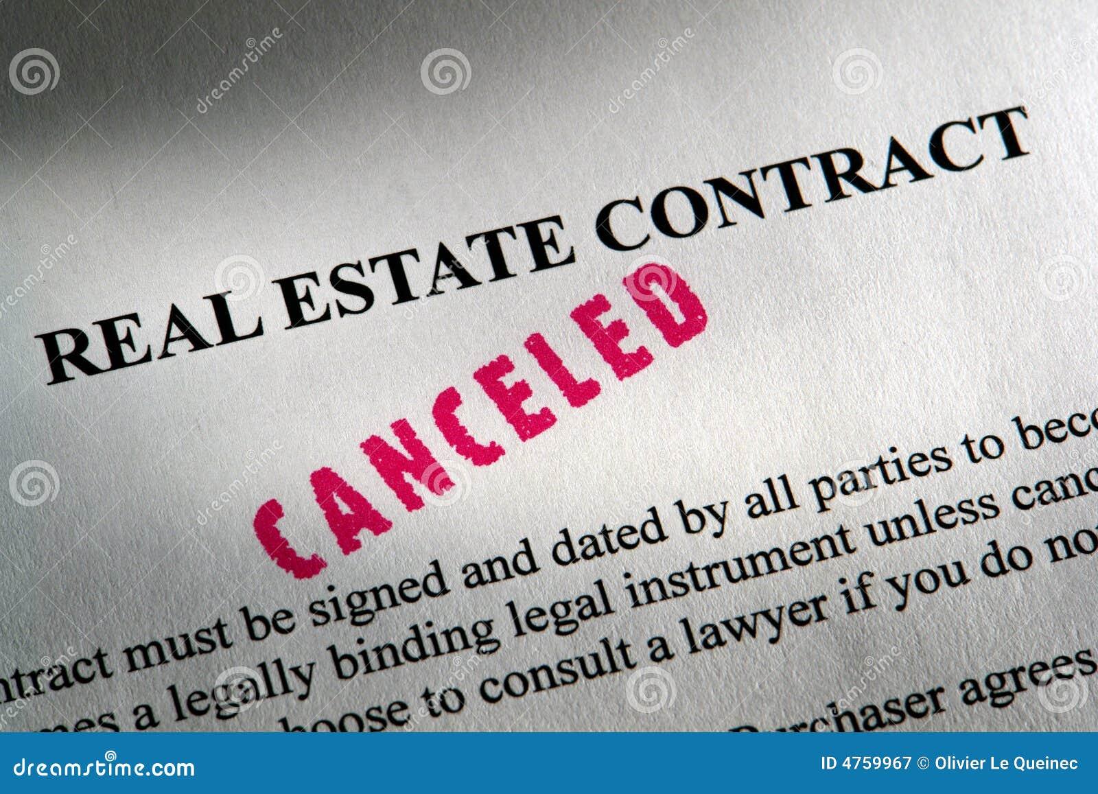 Het geannuleerde Contract van Onroerende goederen