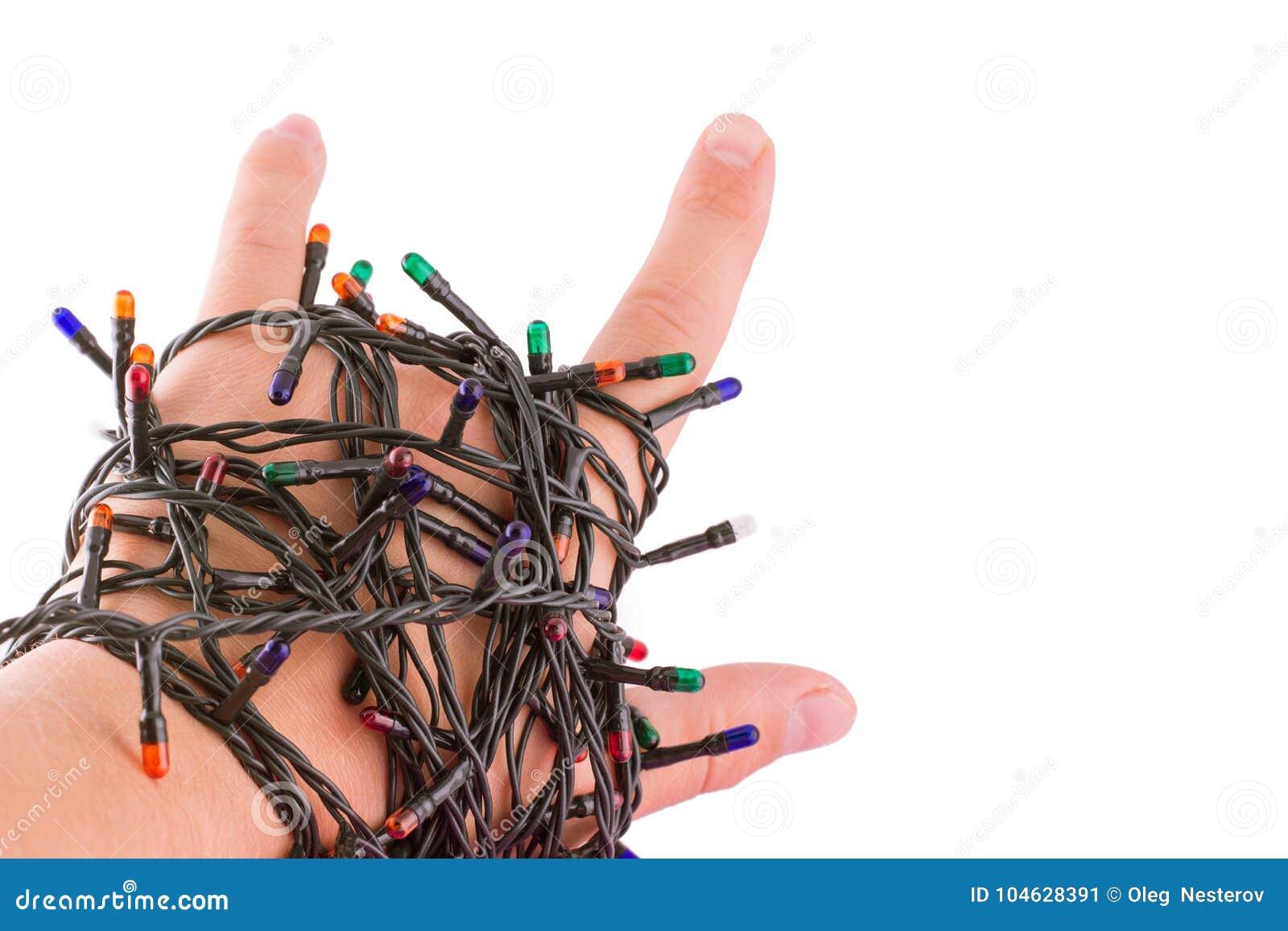 Download Het Gebaar Van Koelte De Hand Is Verpakt In Slingers Stock Afbeelding - Afbeelding bestaande uit gebaar, plastiek: 104628391