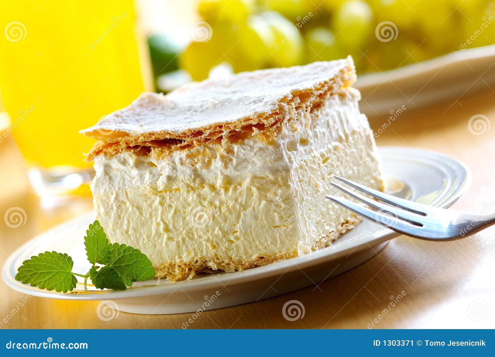 Het gebakje van de room en van de vla