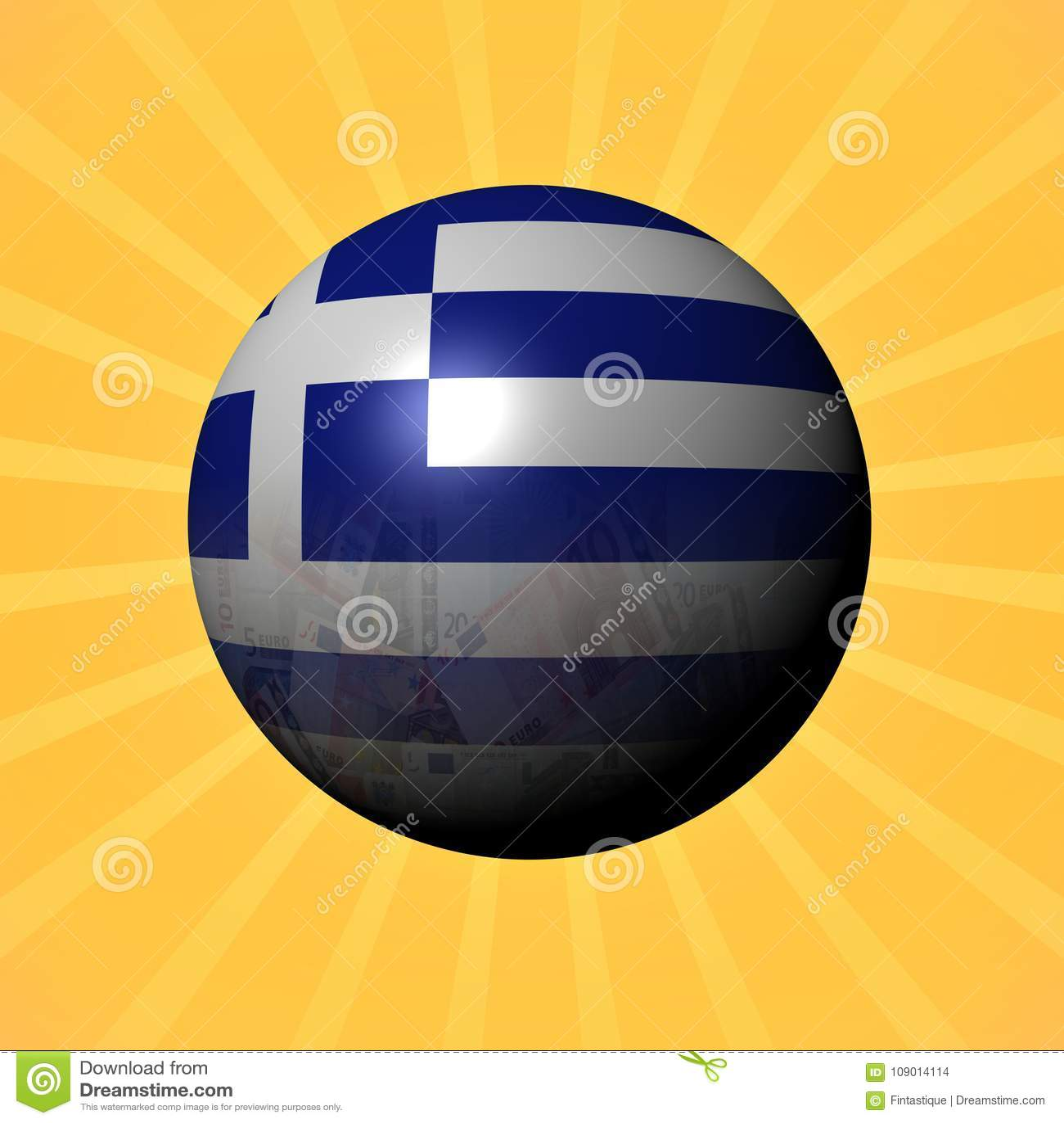 Het gebied van de vlageuro van Griekenland op zonnestraalillustratie