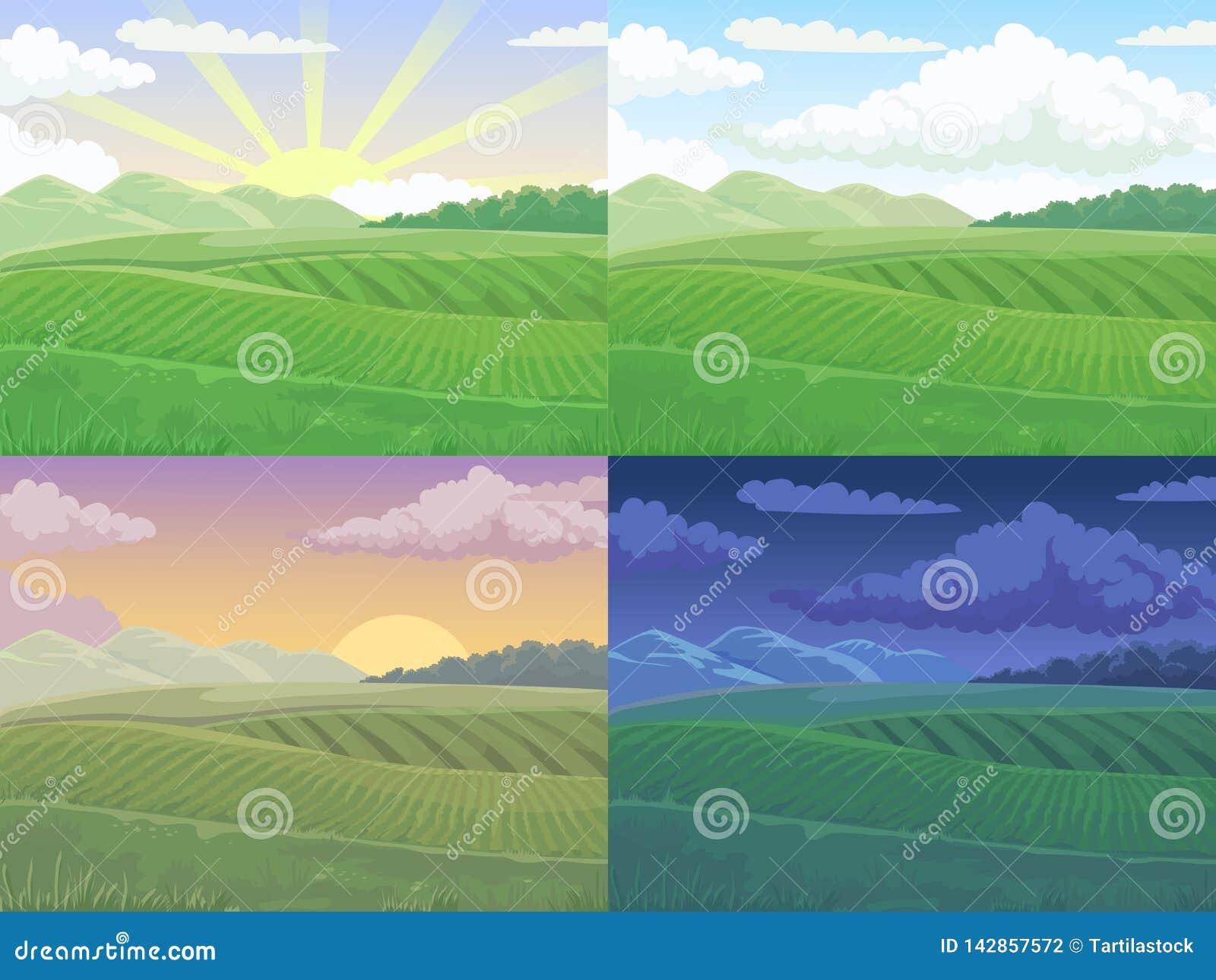 Het gebied van de zomer Groene heuvel, daggebiedenlandschap en achtergrond van de het beeldverhaal de vectorillustratie van de le