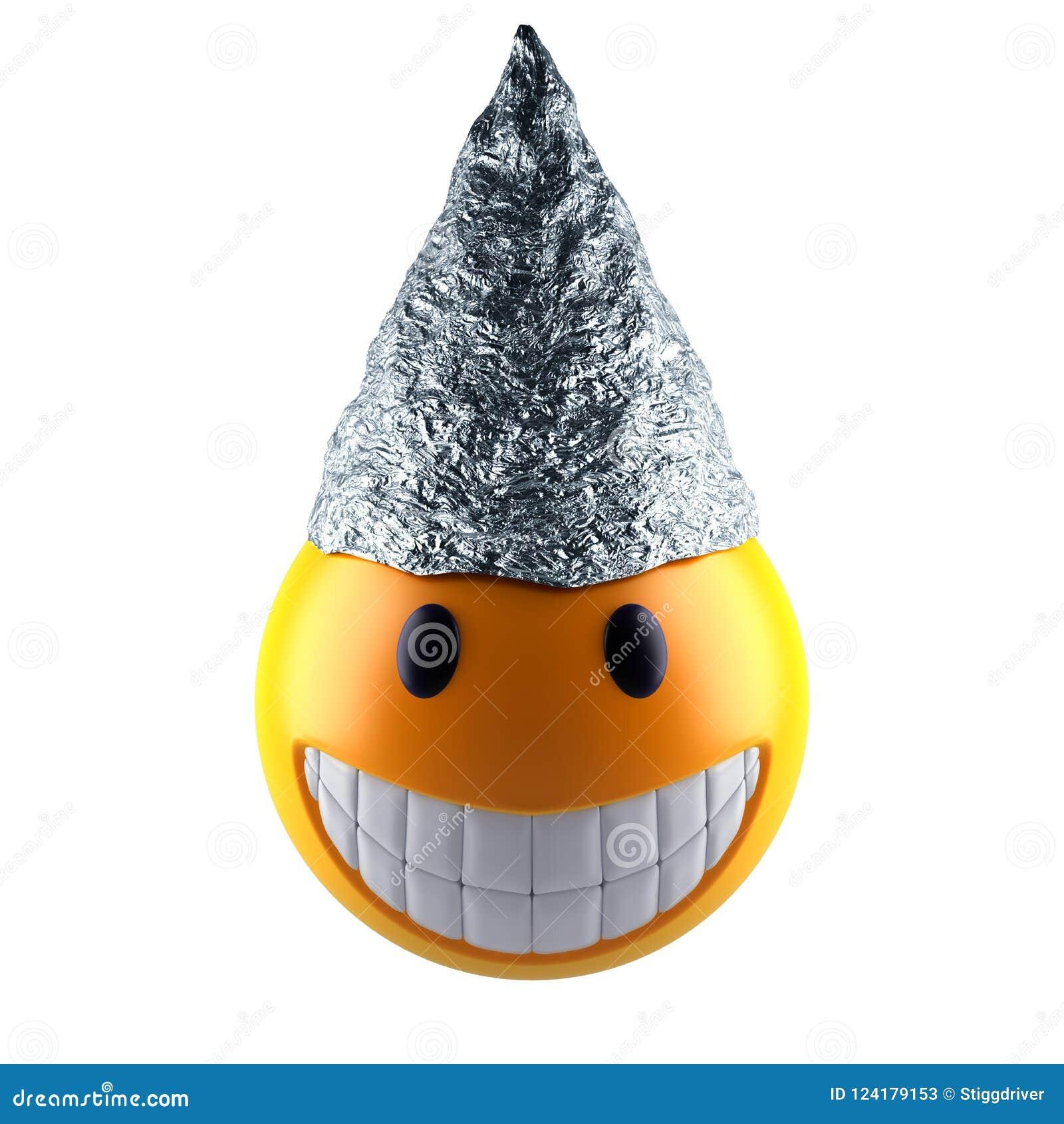 Het gebied van glimlachemoji met de hoed van de tinfolie