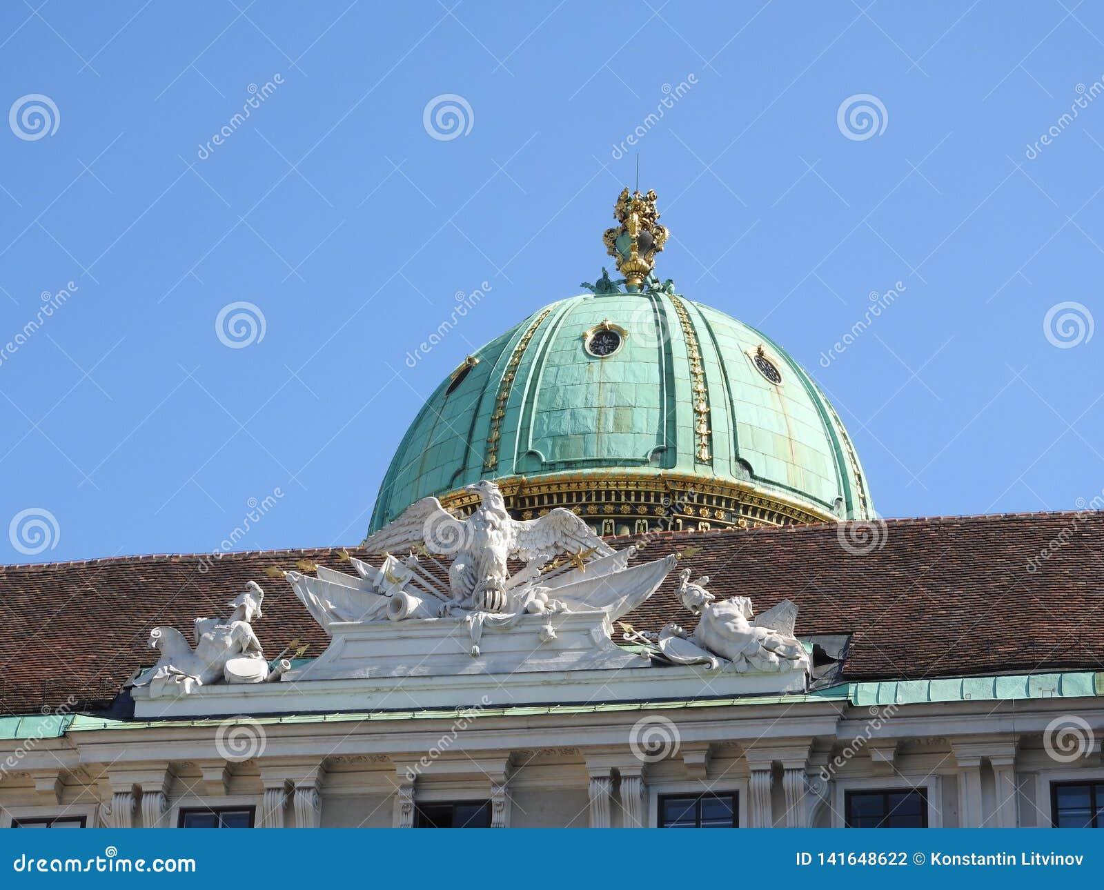 Het gebied van Maria-Theresien-Platz, Wenen, Oostenrijk, op een duidelijke dag