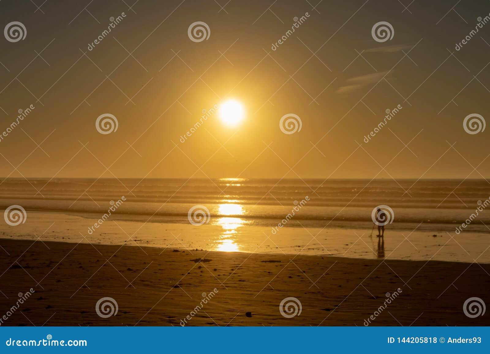 Het gebruiken van een metaaldetector aan onderzoek naar verborgen schat op een strand bij zonsondergang
