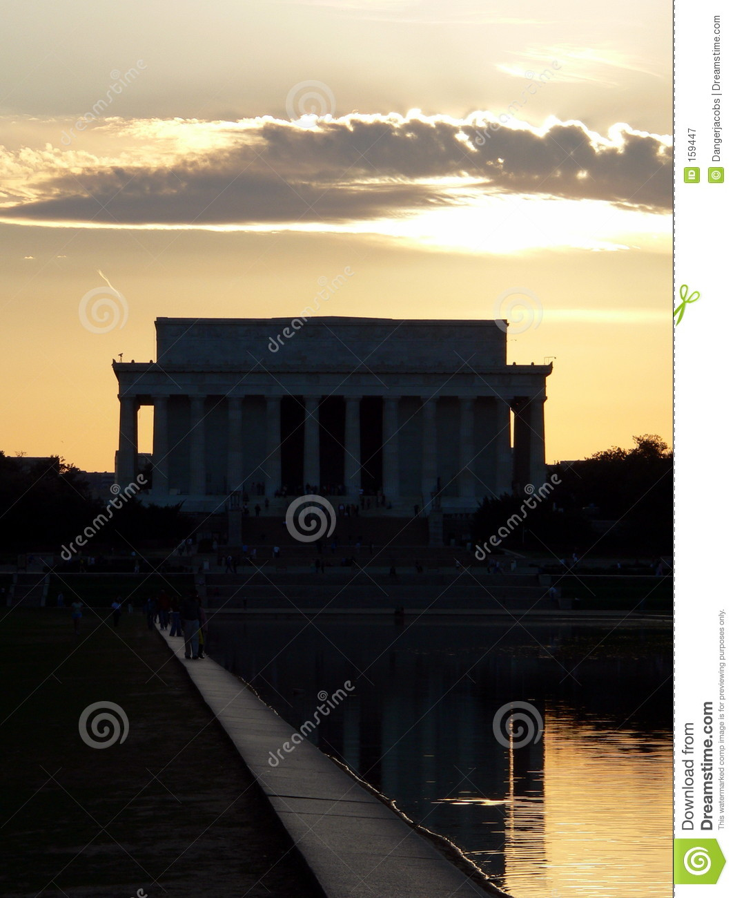 Het Gedenkteken van Lincoln in Washington DC (District van Colombia) bij zonsondergang