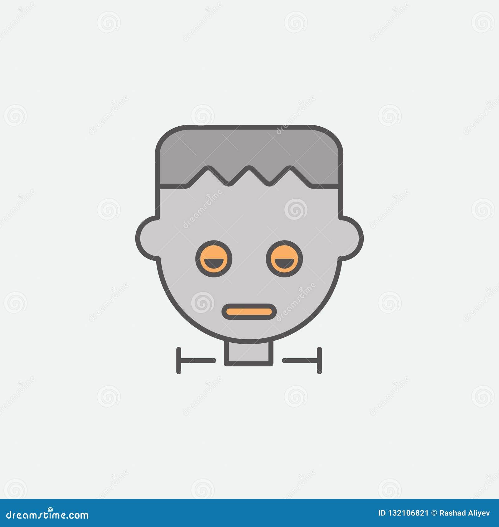 Het gekleurde pictogram van de Frankensteinzombie masker Één van de Halloween-inzamelingspictogrammen voor websites, Webontwerp,
