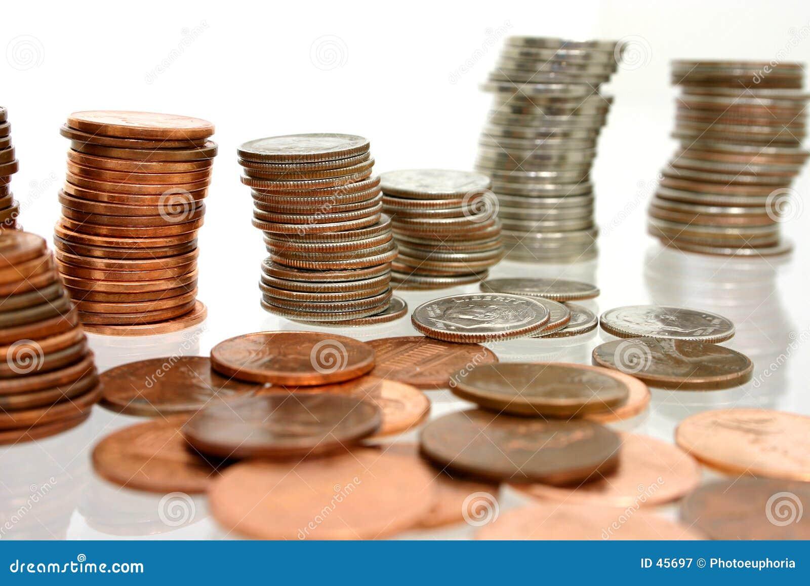 Het Geld van het muntstuk in Stapels