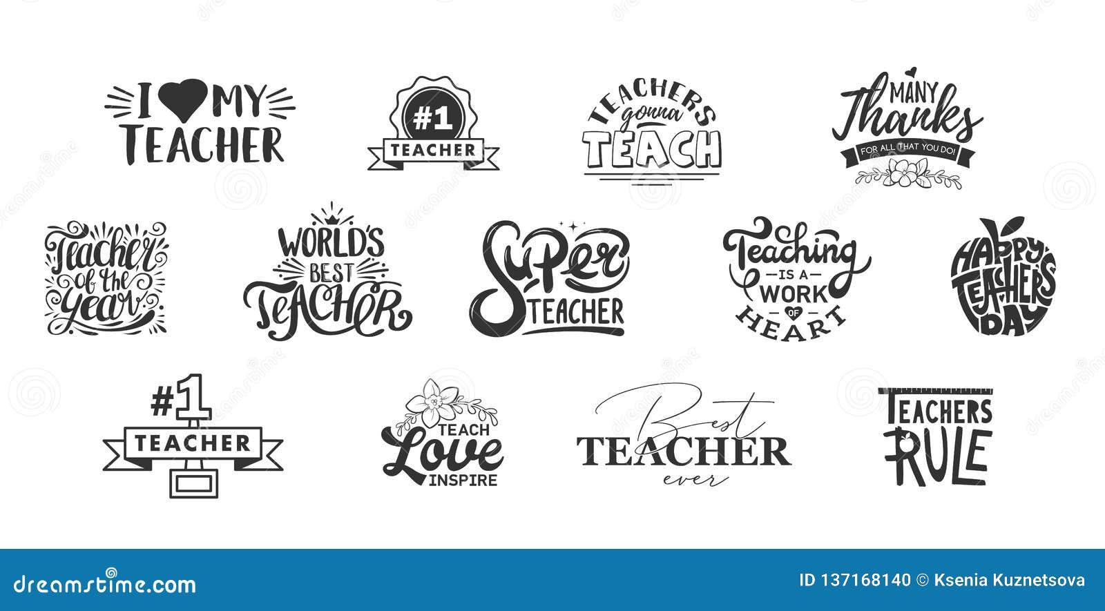 Het gelukkig lerarendag van letters voorzien en typografiecitaat Kentekens van de wereld de beste leraar voor gift, de kaarten va