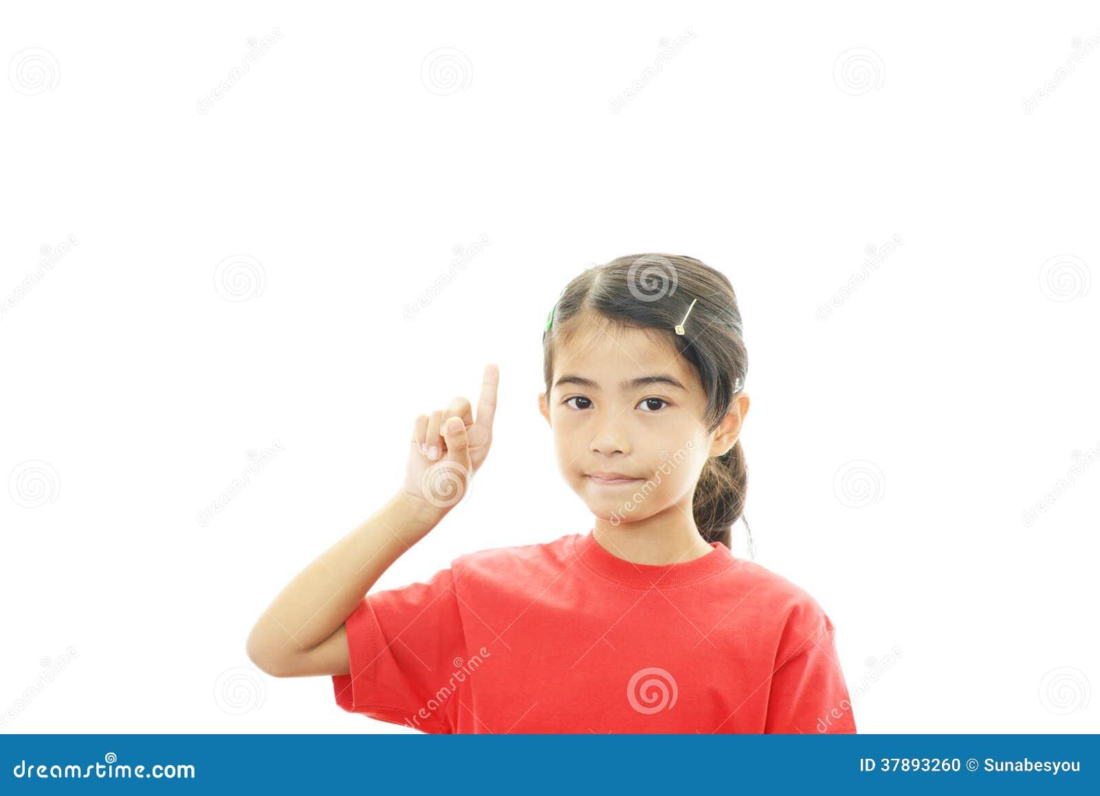 Het gelukkige Aziatische meisje richten