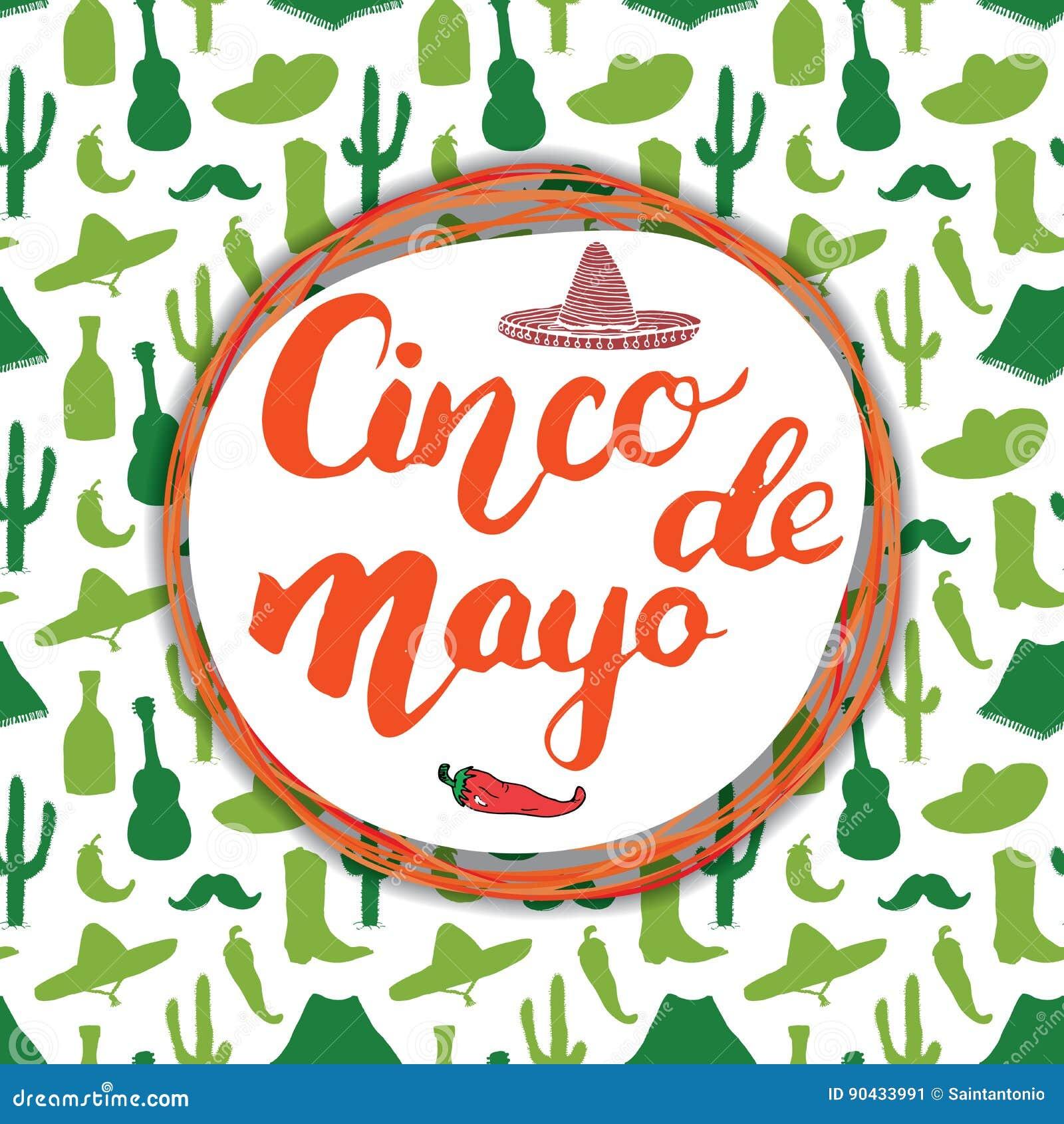 Het gelukkige Cinco de Mayo-de Hand van de groetkaart van letters voorzien Mexicaanse vakantie Vector illustratie