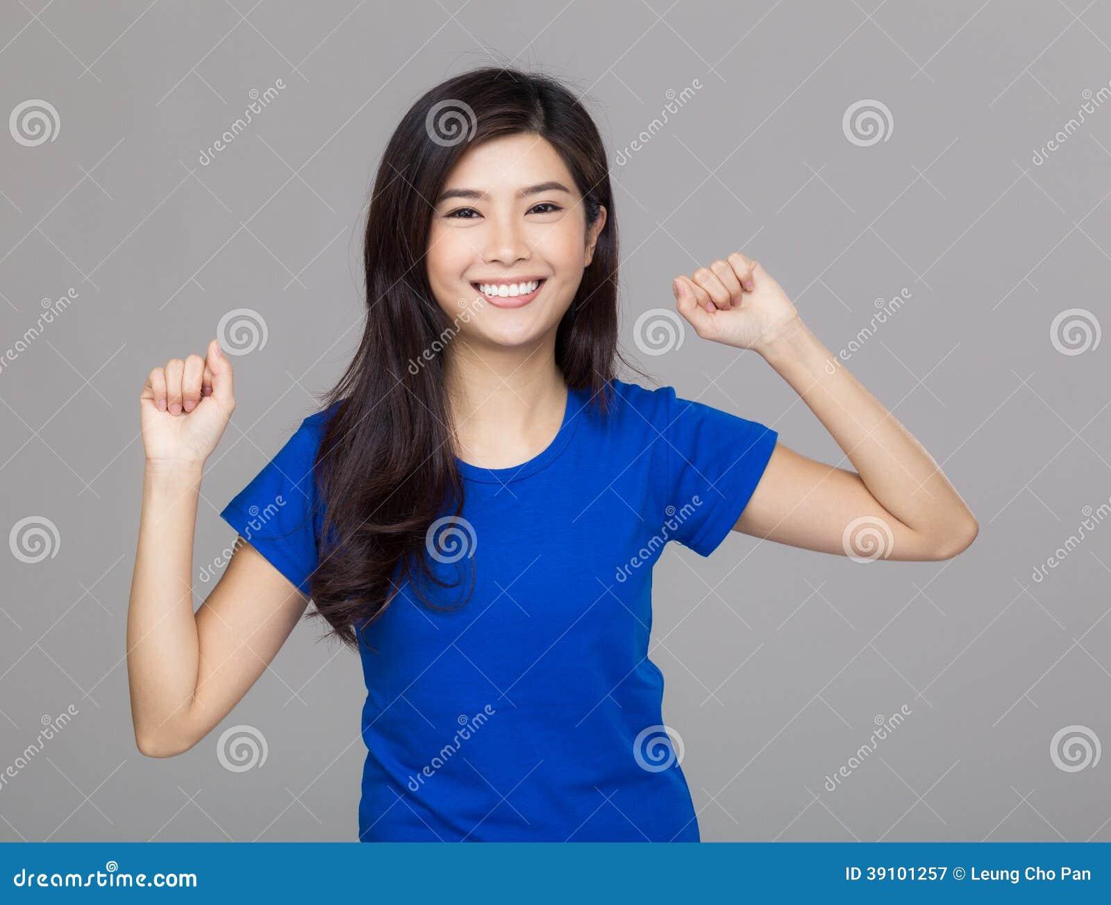 Het gelukkige de vrouw van Azië vieren