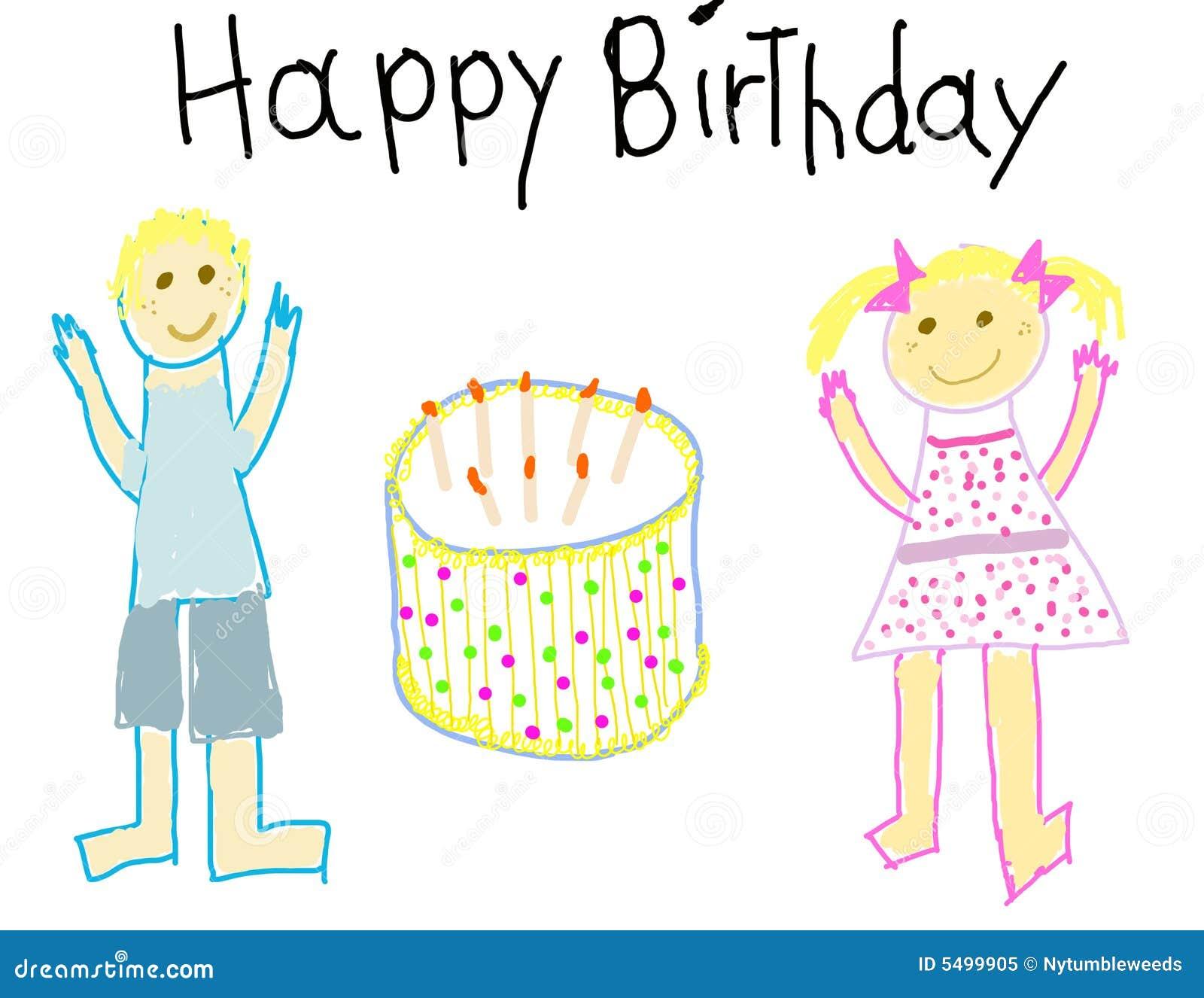Het Gelukkige Kind Van De Verjaardag Zoals Tekening