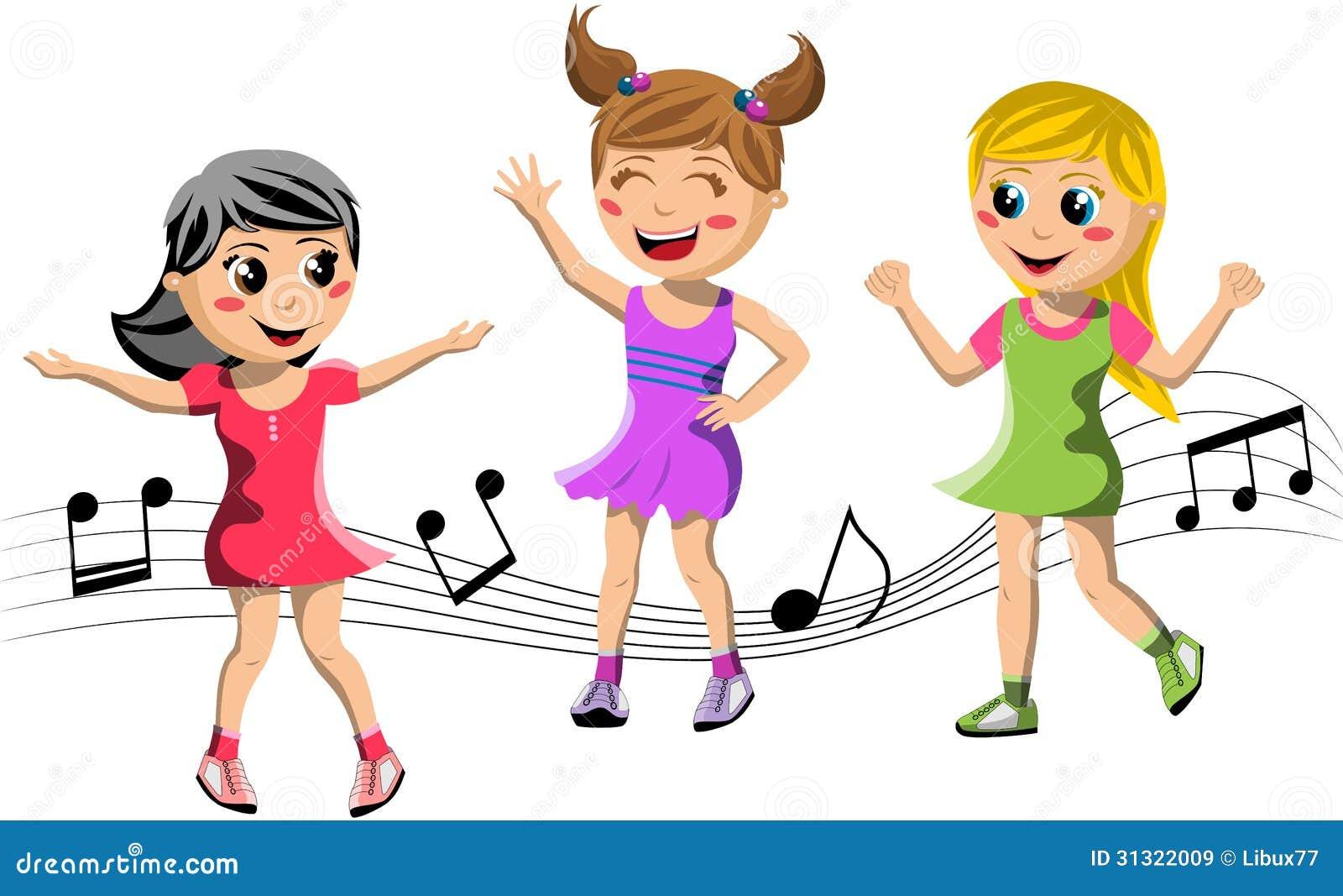 Het Gelukkige Kinderen Dansen Vector Illustratie