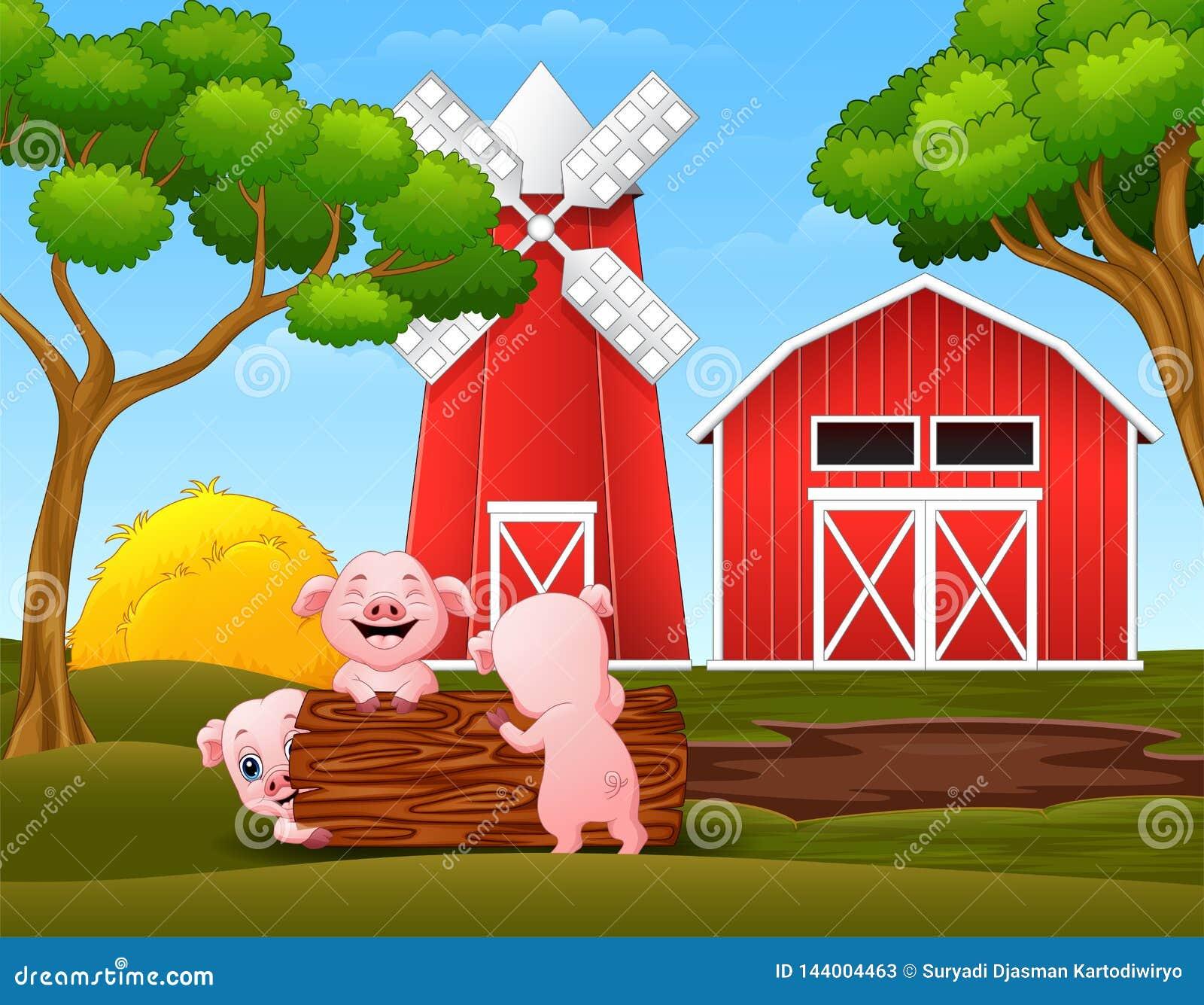 Het gelukkige kleine varken drie spelen opent het landbouwbedrijf het programma