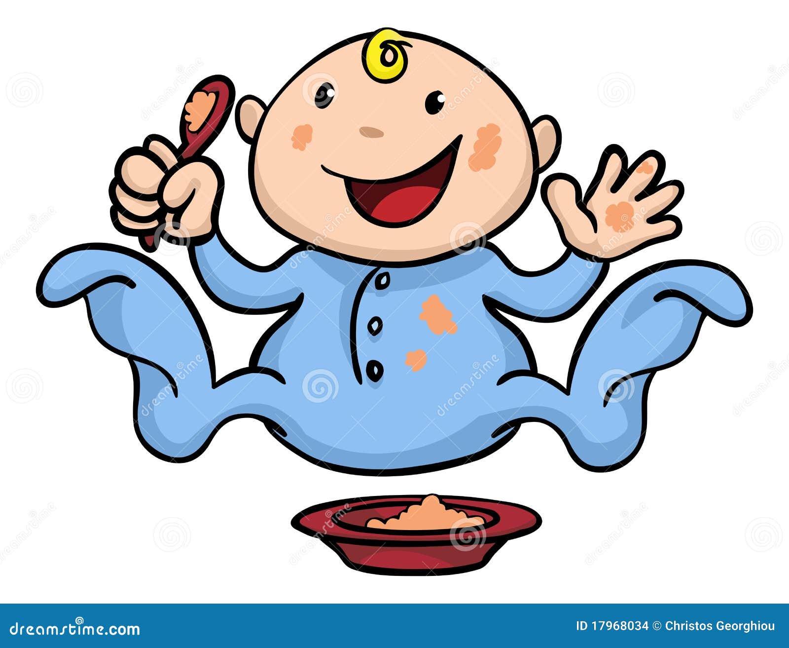 De illustratie van Clipart van het gelukkige leuke baby het spenen ...
