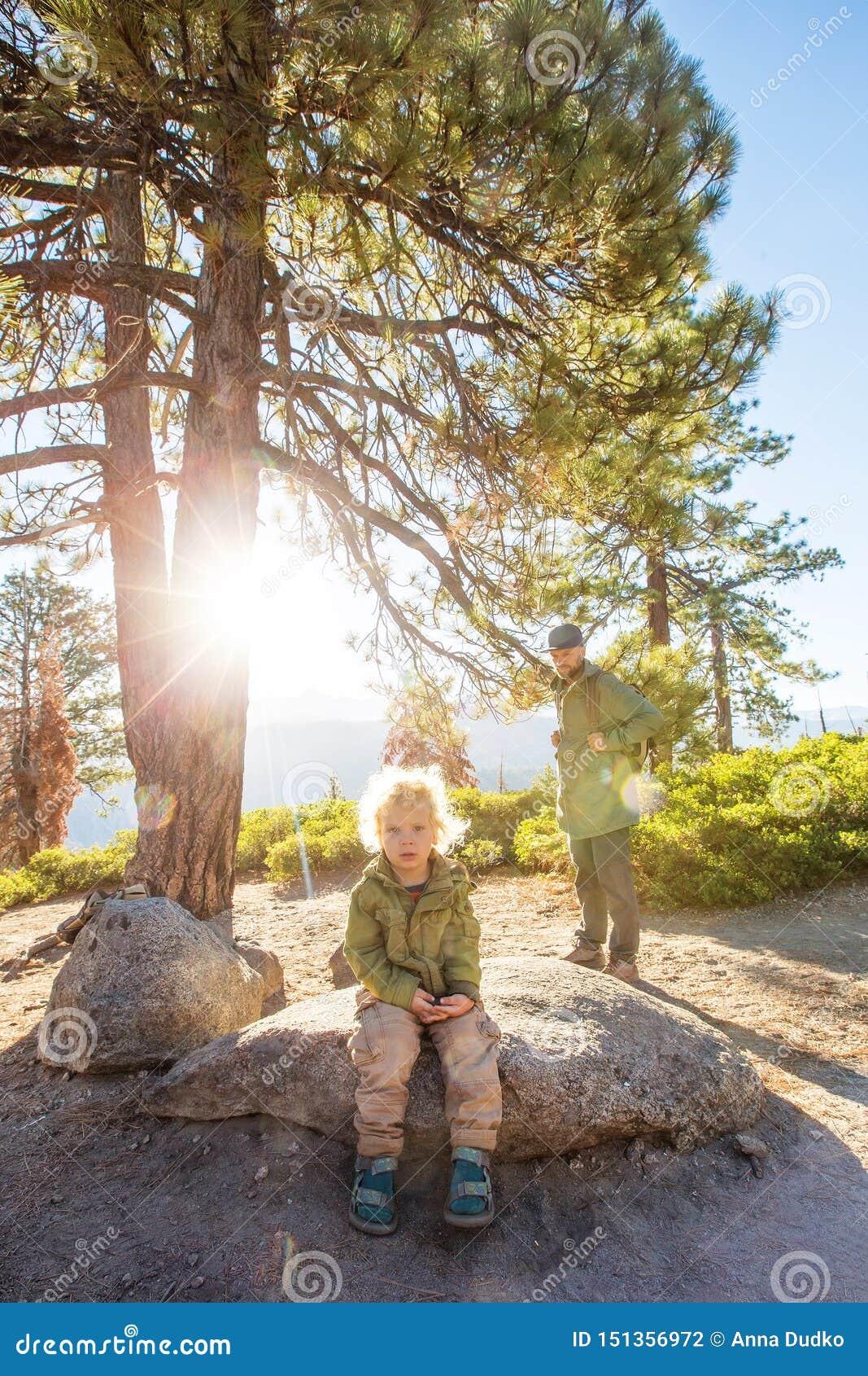 Het gelukkige nationale park van Yosemite van het familiebezoek in Californi?