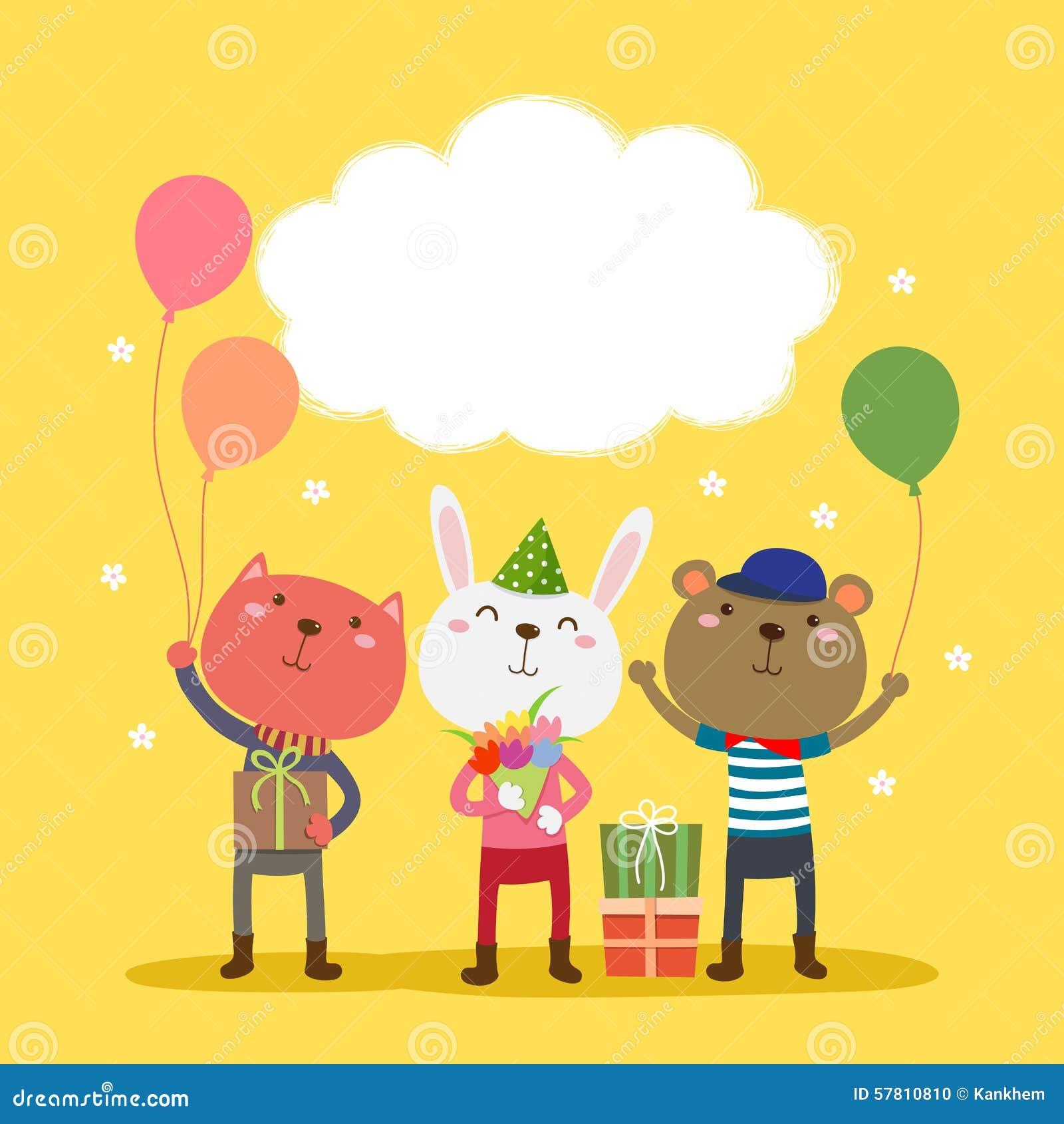 Het gelukkige ontwerp van de verjaardagskaart met leuke dieren