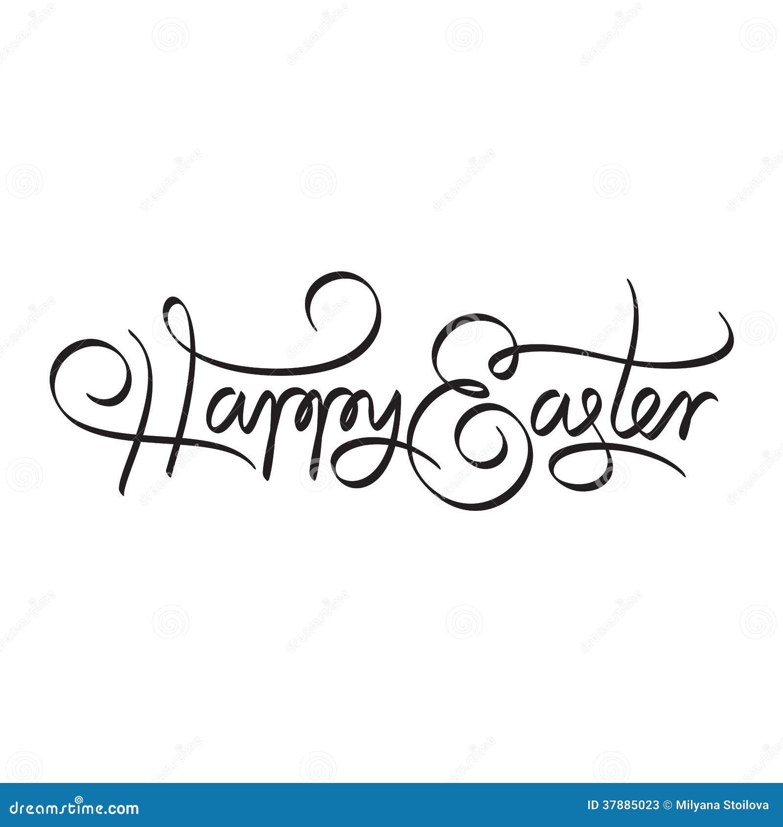 Het gelukkige Pasen-hand van letters voorzien