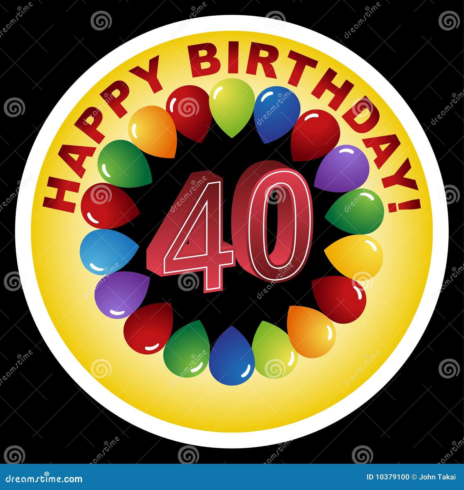 Het gelukkige Pictogram van de Verjaardag - Gelukkige veertigste