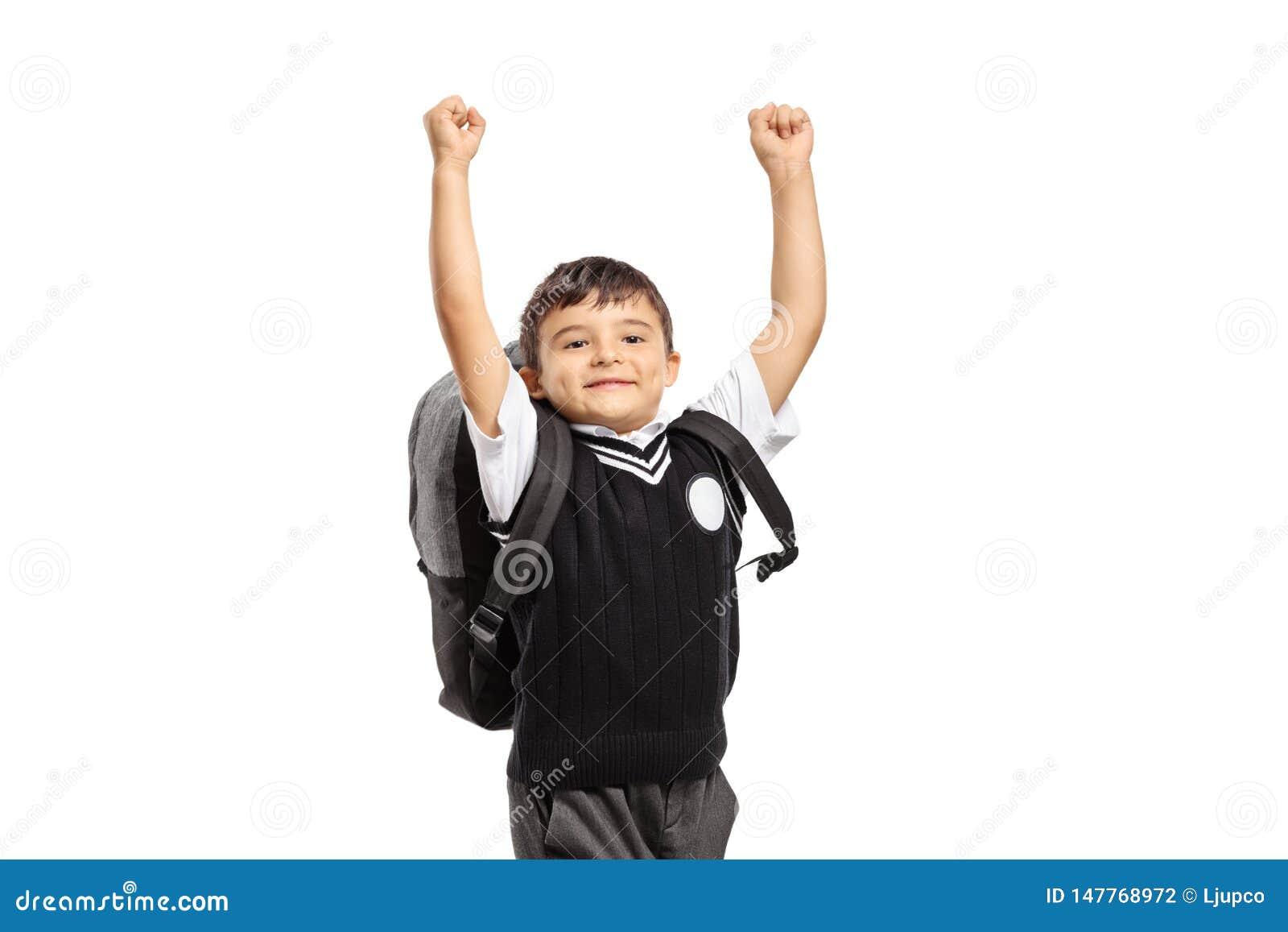 Het gelukkige schooljongen springen