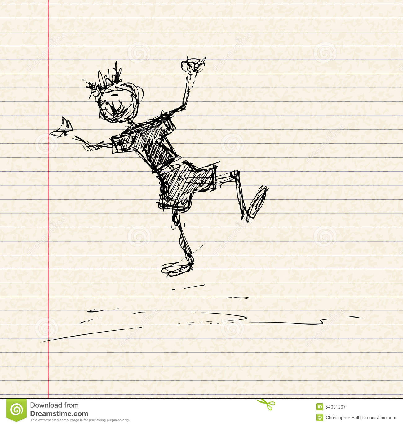 Het gelukkige stokjongen spelen op een pagina