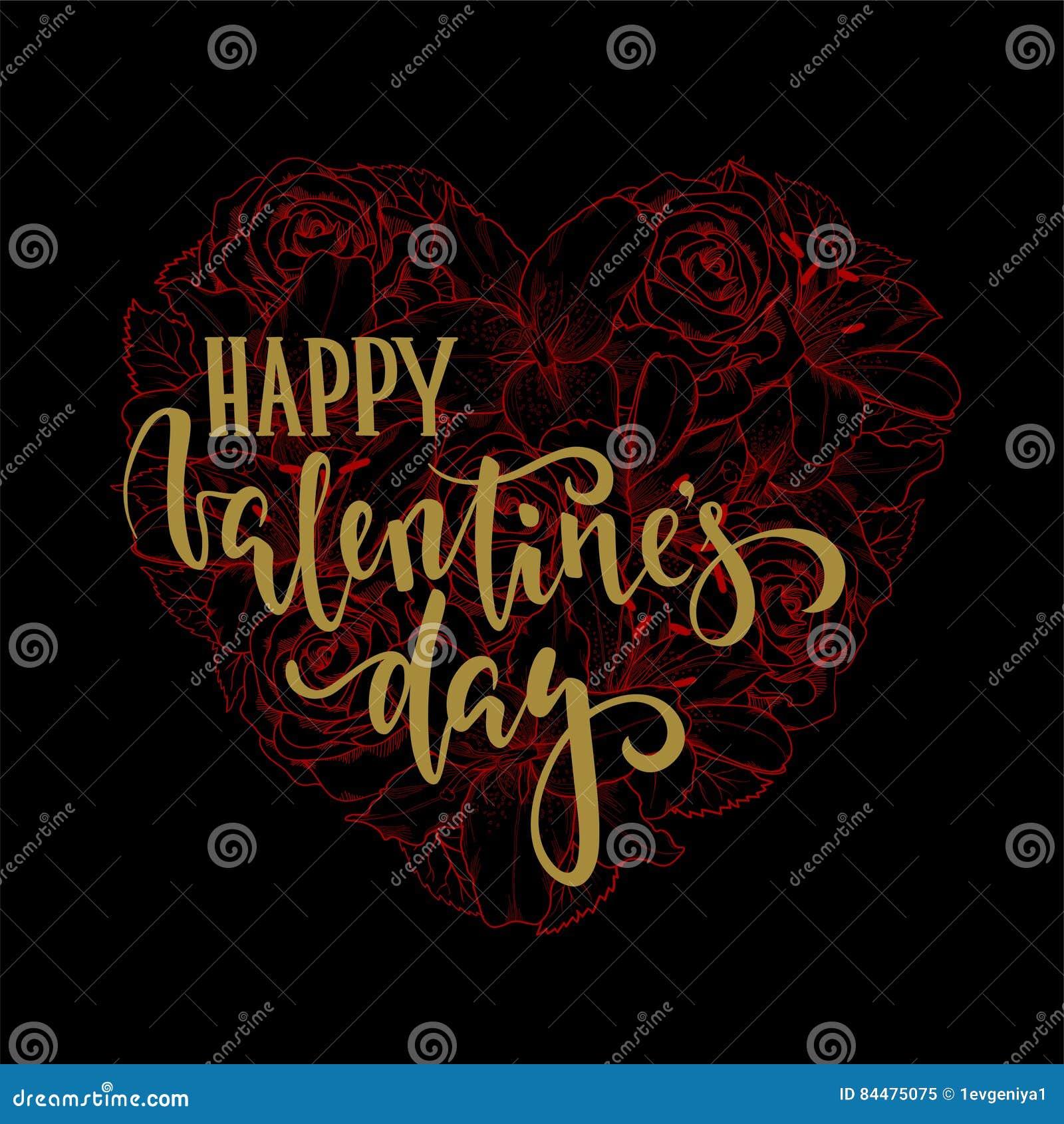 Het gelukkige van de de daghand getrokken kalligrafie en borstel van Valentine ` s pen van letters voorzien op zwart en rood bloe