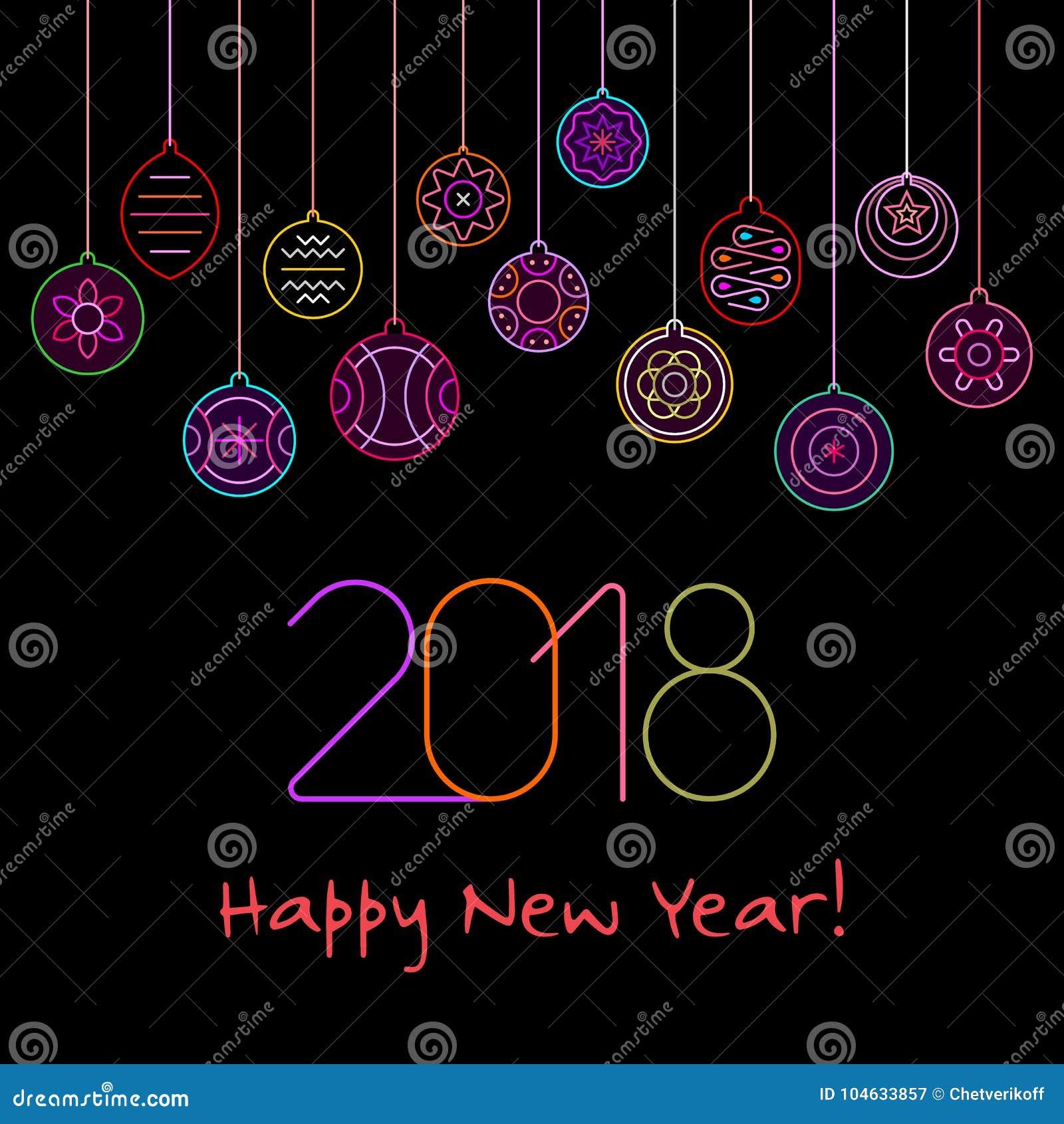 Download Het Gelukkige Vectorontwerp Van Het Nieuwjaarneon Vector Illustratie - Illustratie bestaande uit lichten, affiche: 104633857