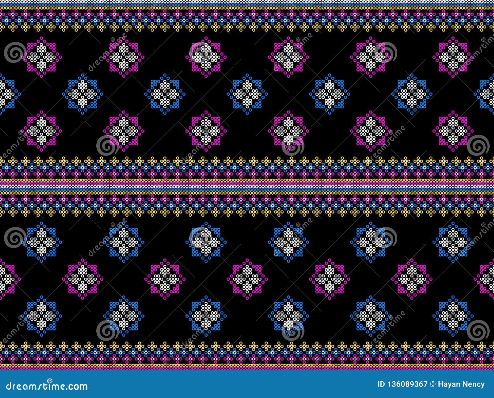 Het geometrische etnische oosterse traditionele Ontwerp van het ikatpatroon voor de kleding van het achtergrondtapijtbehang