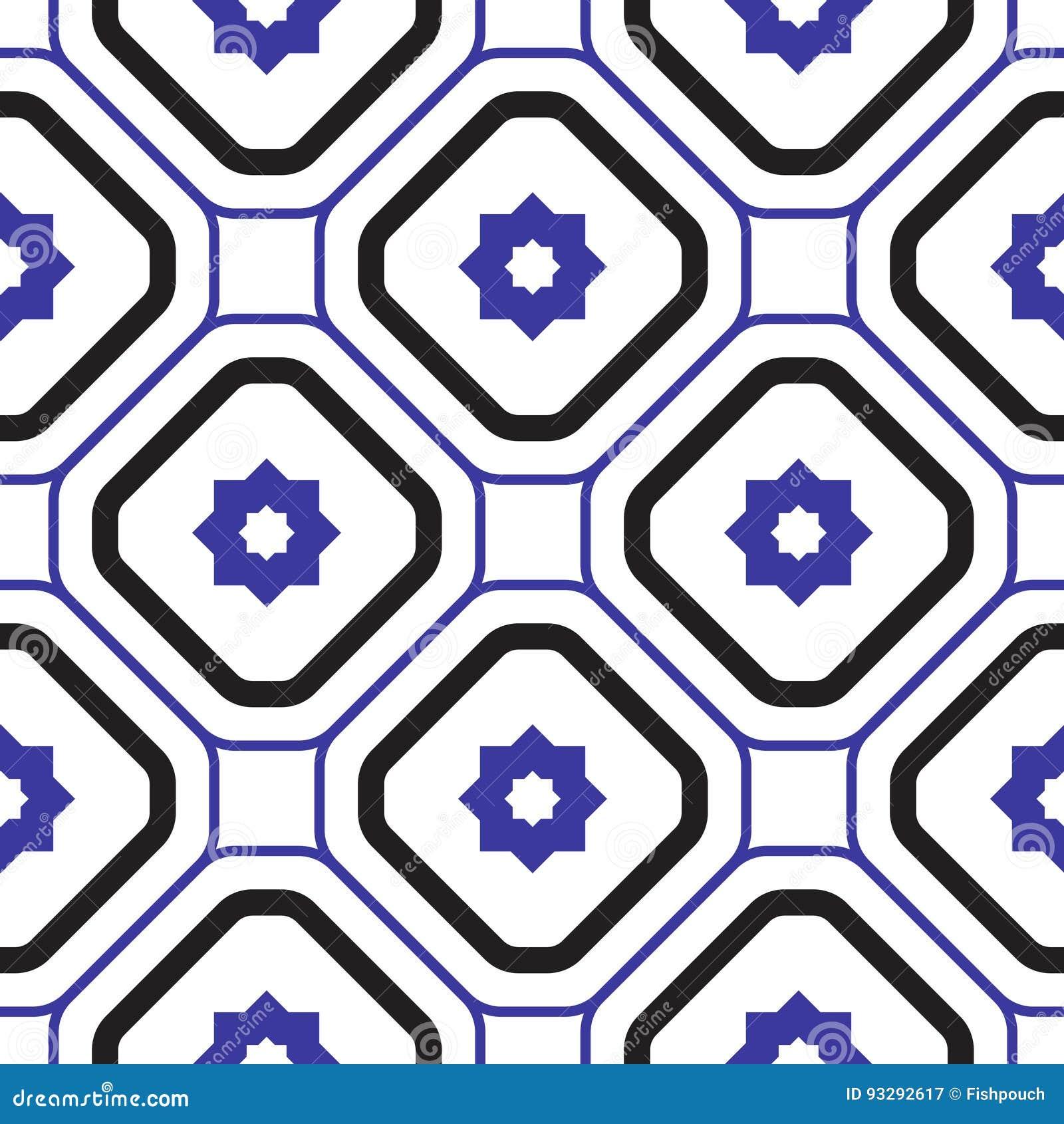 Het geometrische mediterrane blauwe en witte patroon van de ruit naadloze tegel