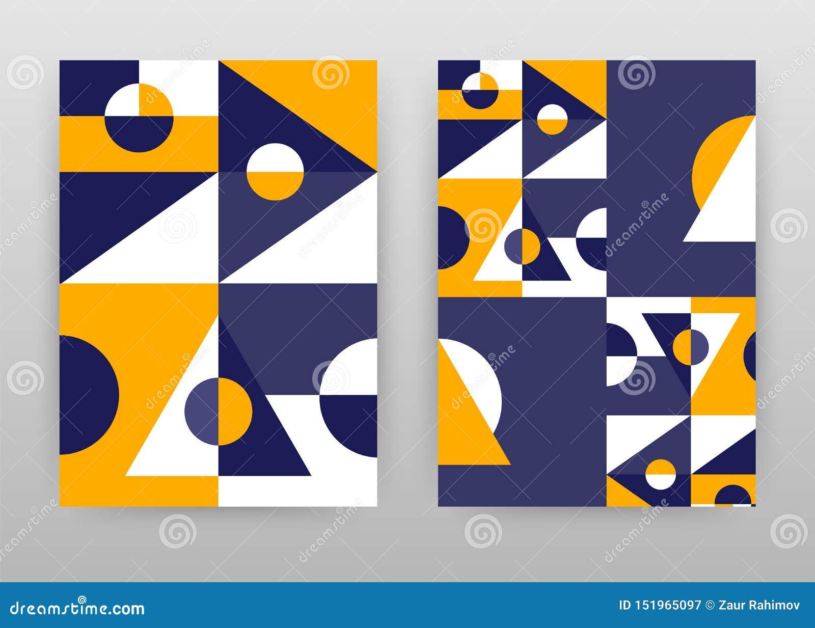 Het geometrische ontwerp van driehoeksvormen voor jaarverslag, brochure, vlieger, affiche Meetkunde gele purpere abstracte vector