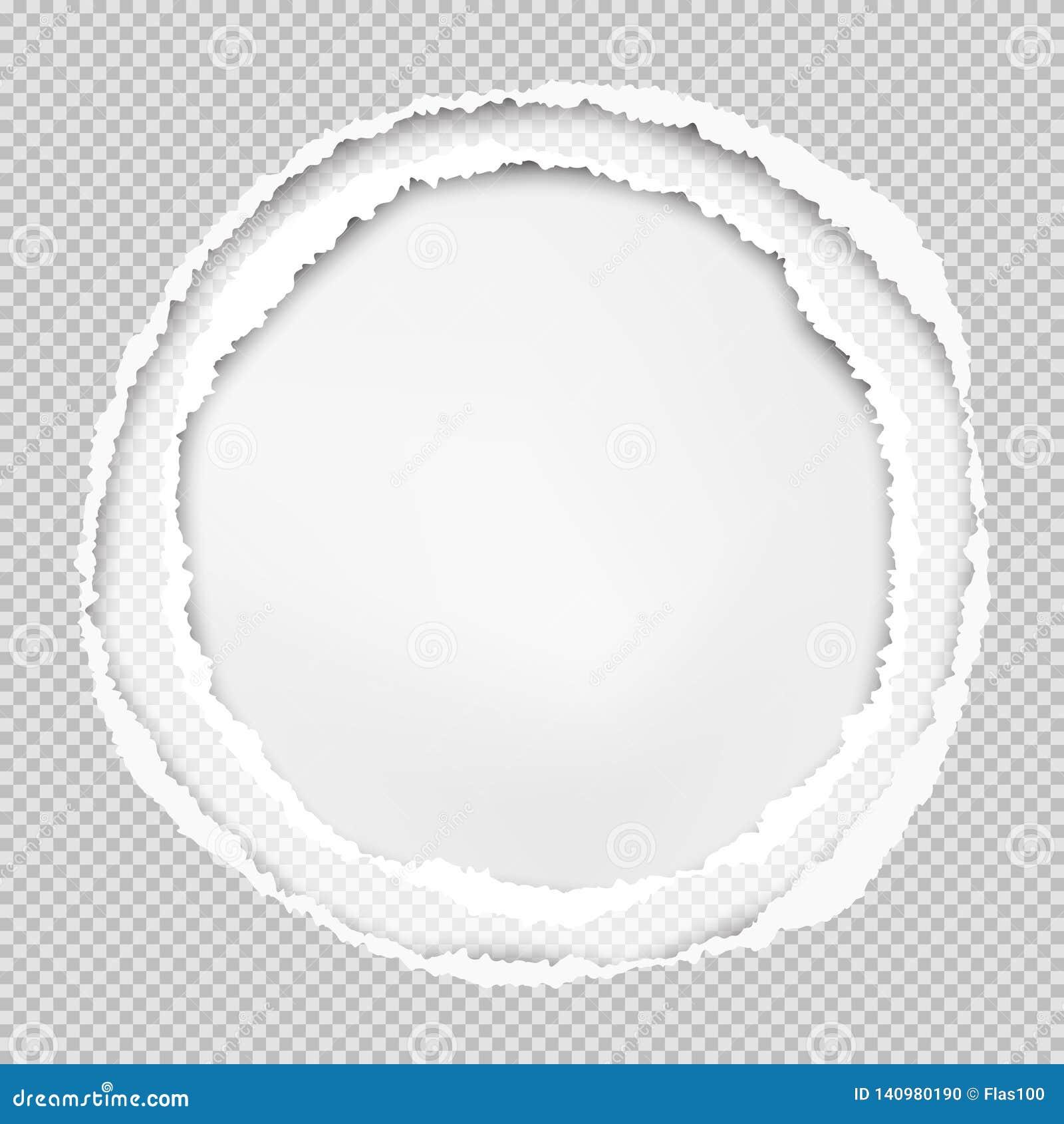 Het geregelde grijze document, de ronde samenstelling met gescheurde randen en de zachte schaduw zijn op witte achtergrond Vector
