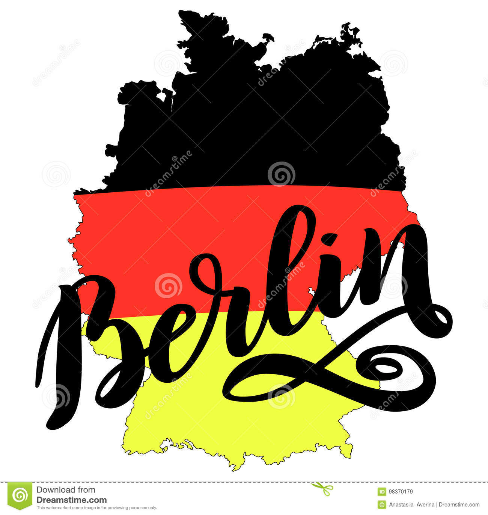Het getrokken van letters voorzien van Berlijn hand Vector van letters voorziende illustratie die op wit wordt geïsoleerd Malplaa