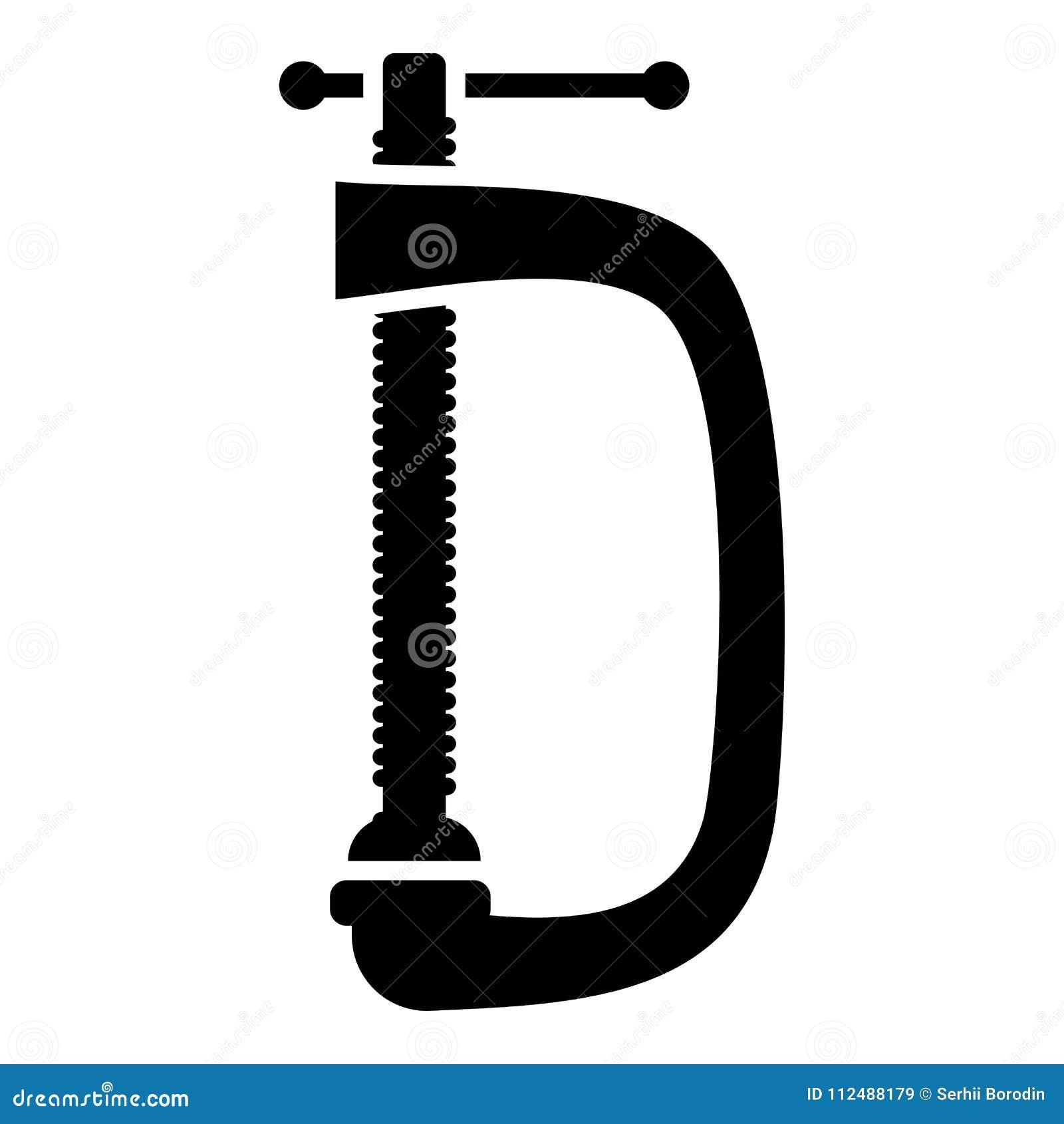 Het gewrongen van de schroef-klem van de de illustratie vlakke stijl pictogram zwarte kleur eenvoudige beeld