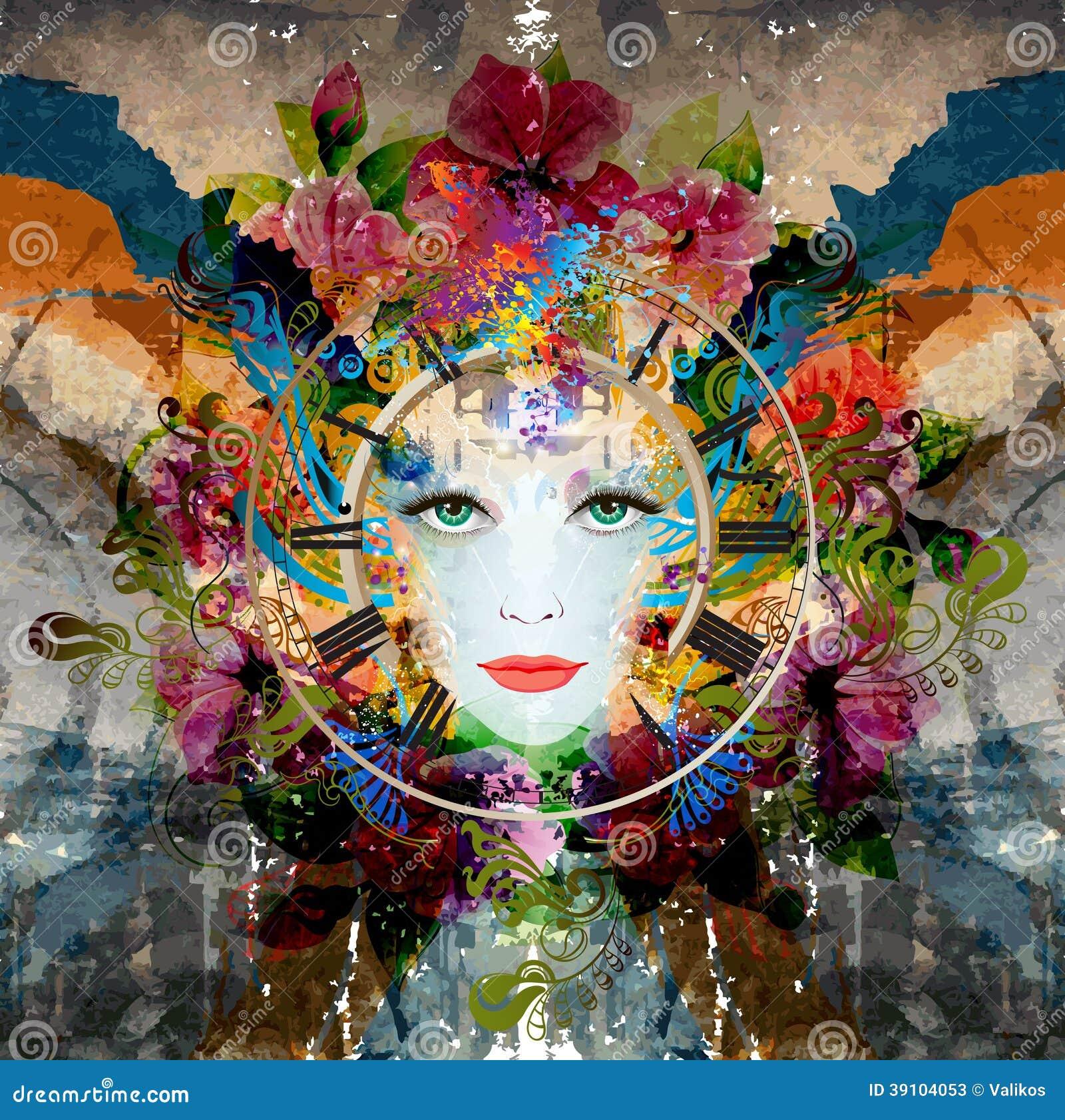 Het gezicht van de heldere kleurenvrouw