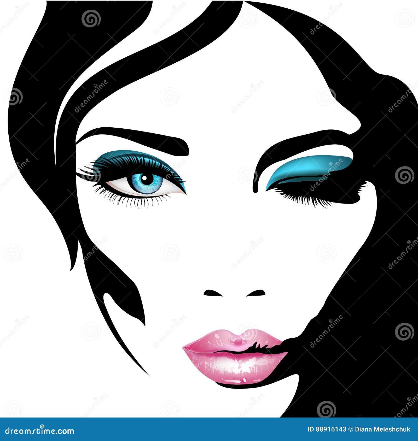 Het gezicht van de vrouw `s Vector illustratie Realistische roze lippenann blauwe ogen met elegante wimpers