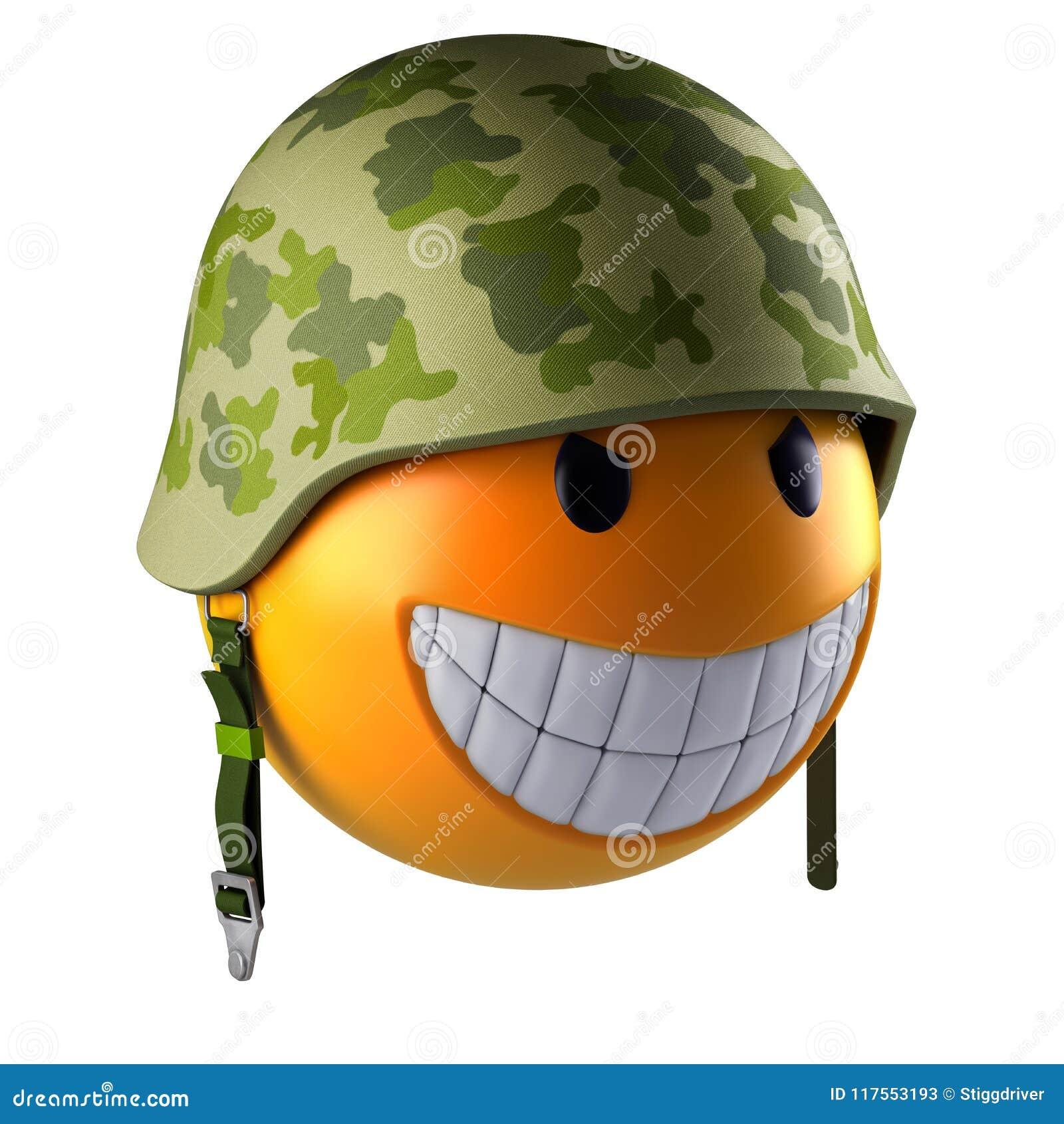 Het gezichtsgebied van glimlachemoji met militaire helm