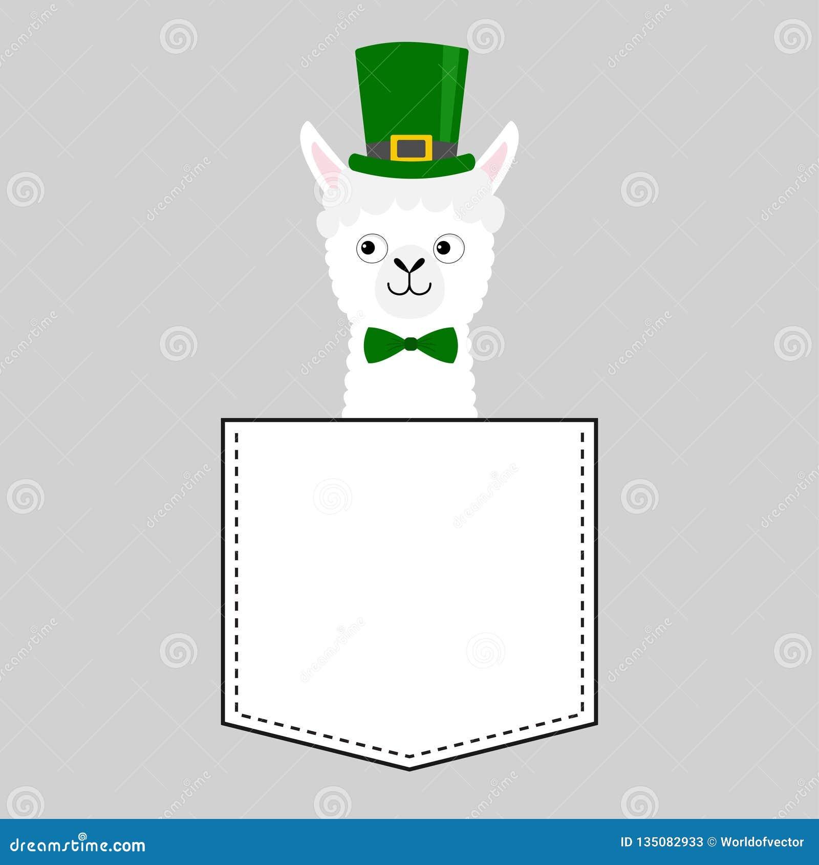 Het gezichtshoofd van de lamaalpaca in de zak De groene dag van hoedenpatrick Leuke beeldverhaaldieren Kawaiikarakter Vlak ontwer