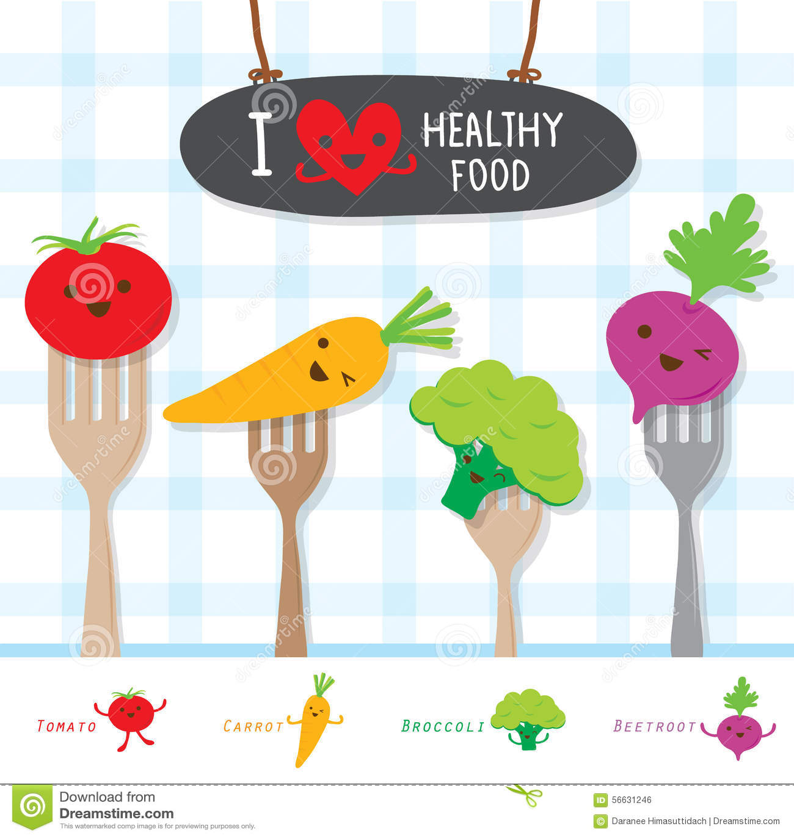 Het gezonde Voedsel Plantaardige Dieet eet de Nuttige Leuke Vector van het Vitaminebeeldverhaal